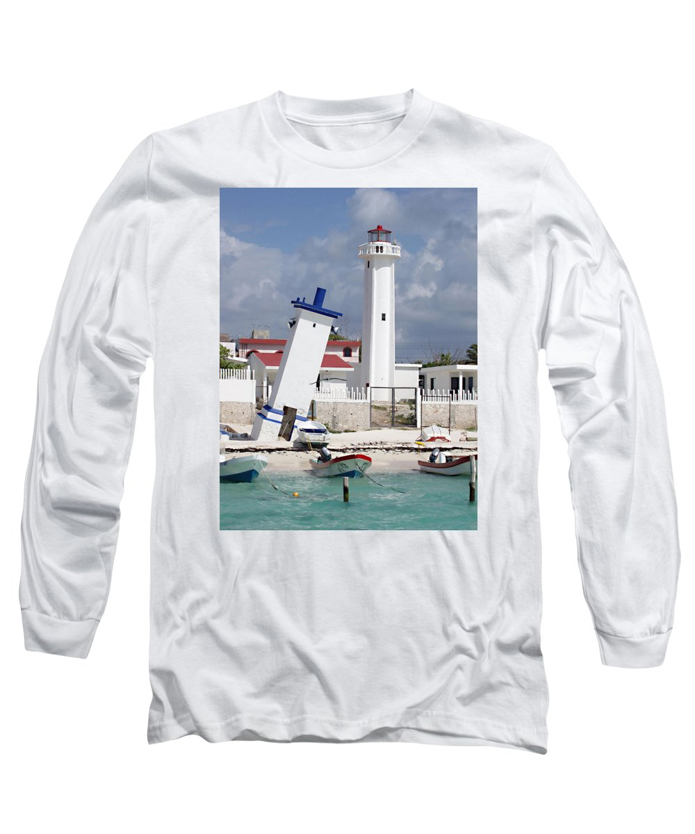 Puerto Morelos Lighthouse Long Sleeve T-Shirt featuring the photograph Puerto Morelos Lighthouse by Ellen Henneke
