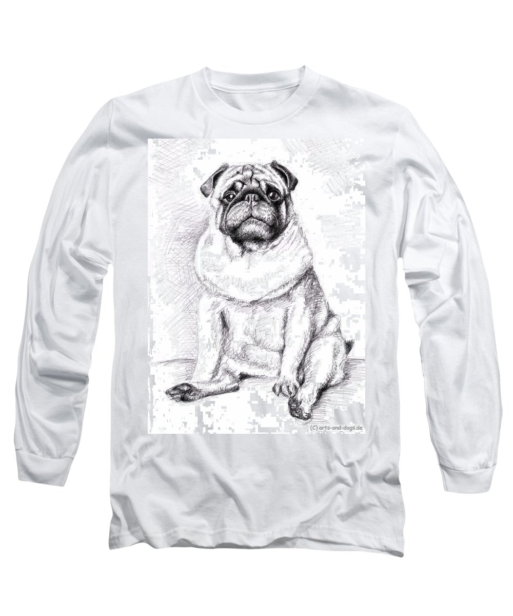 Dog Long Sleeve T-Shirt featuring the drawing Pug Anton by Nicole Zeug