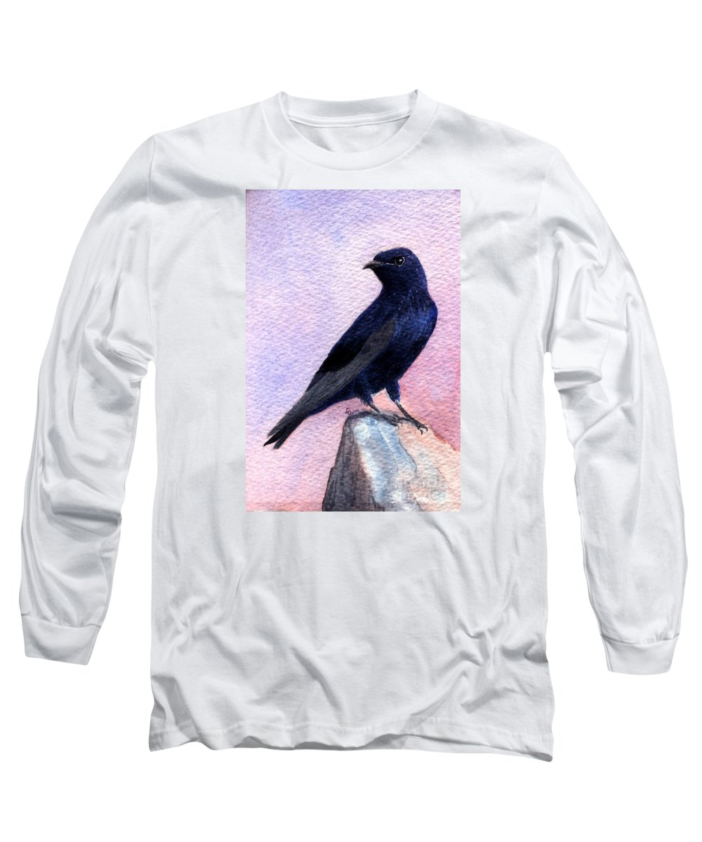 Bird Long Sleeve T-Shirt featuring the painting Purple Martin by Lynn Quinn