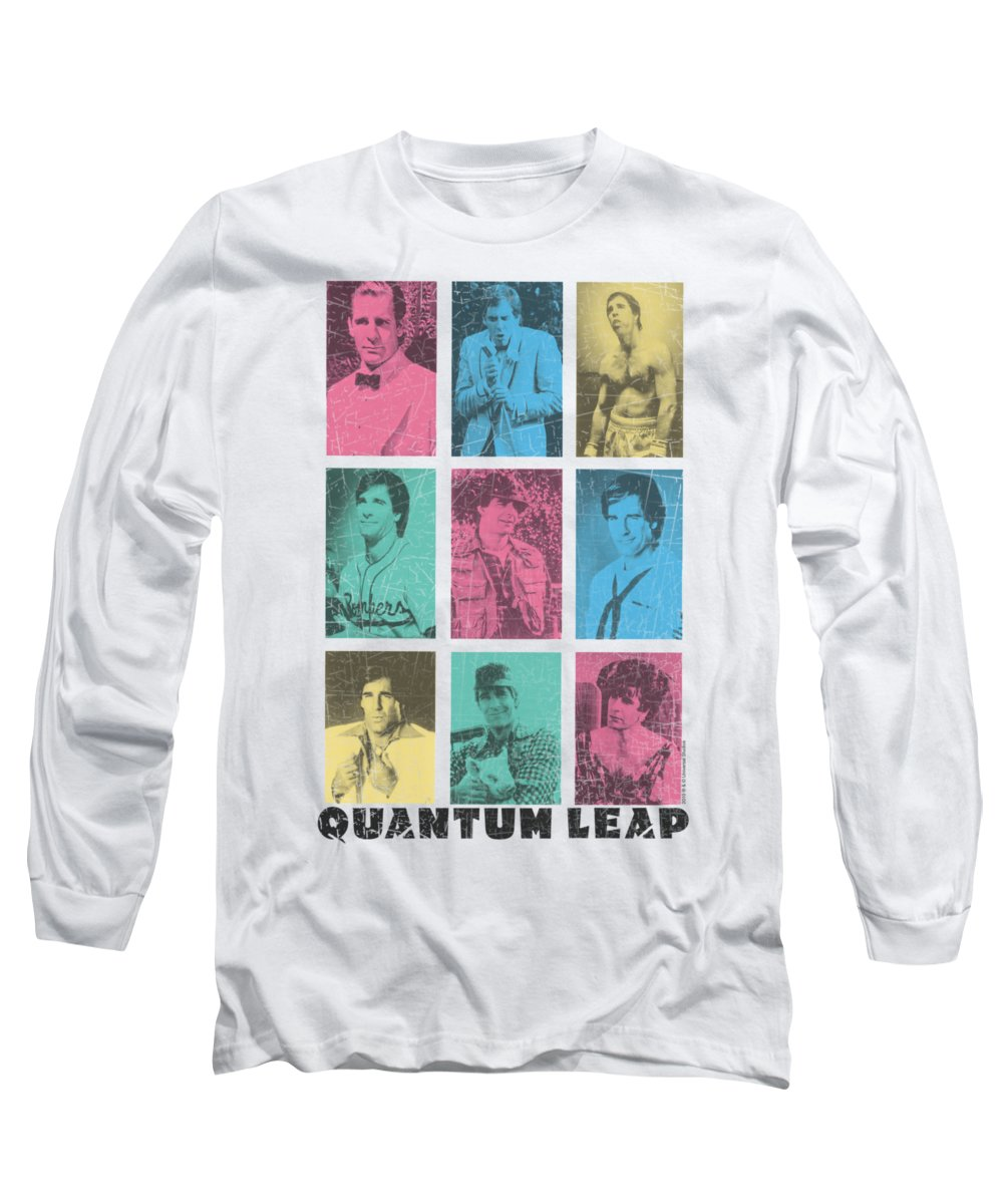 Quantum Leap Long Sleeve T-Shirt featuring the digital art Quantum Leap - Faces Of Sam by Brand A