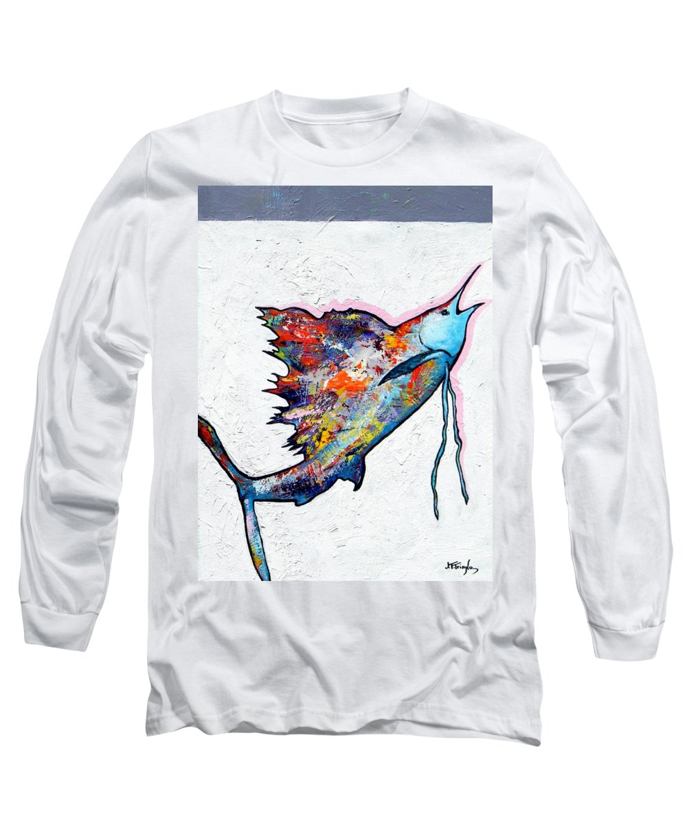 Wildlife Long Sleeve T-Shirt featuring the painting Rainbow Warrior - Sailfish by Joe Triano