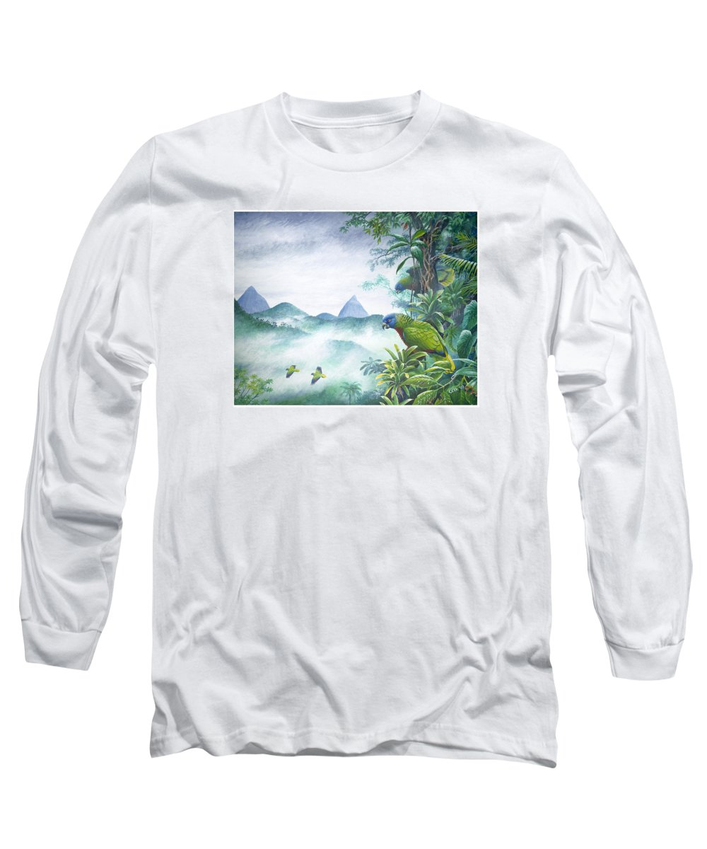 Chris Cox Long Sleeve T-Shirt featuring the painting Rainforest Realm - St. Lucia Parrots by Christopher Cox