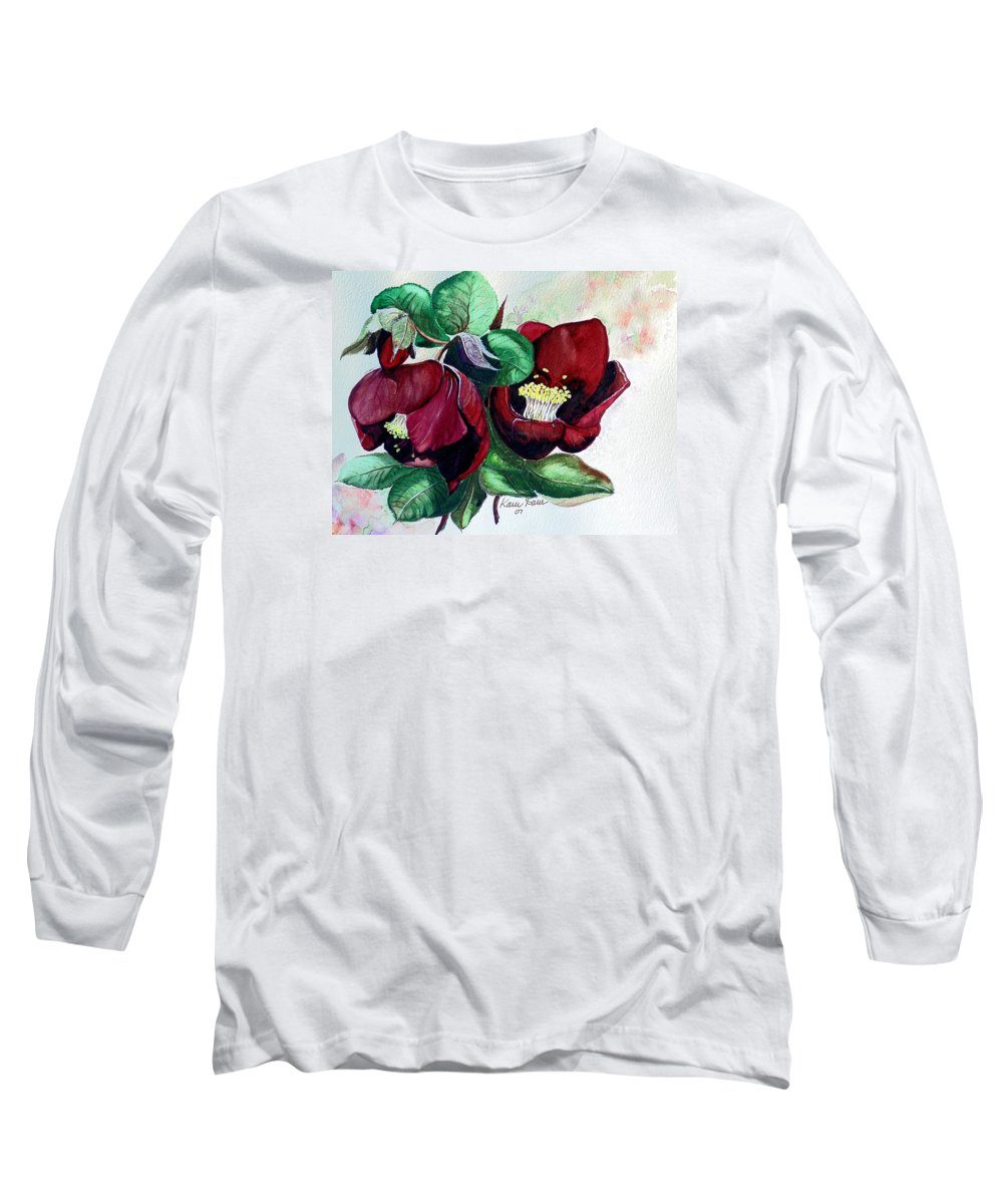 Red Helleborous Painting Flower Painting  Botanical Painting Watercolor Painting Original Painting Floral Painting Flower Painting Red Painting  Greeting Painting Long Sleeve T-Shirt featuring the painting Red Helleborous by Karin Dawn Kelshall- Best