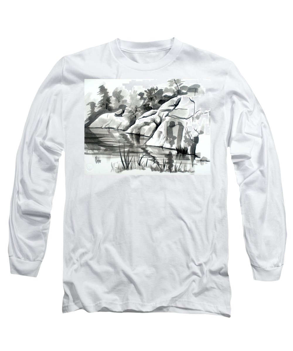 Reflections At Elephant Rocks State Park No I102 Long Sleeve T-Shirt featuring the painting Reflections At Elephant Rocks State Park No I102 by Kip DeVore