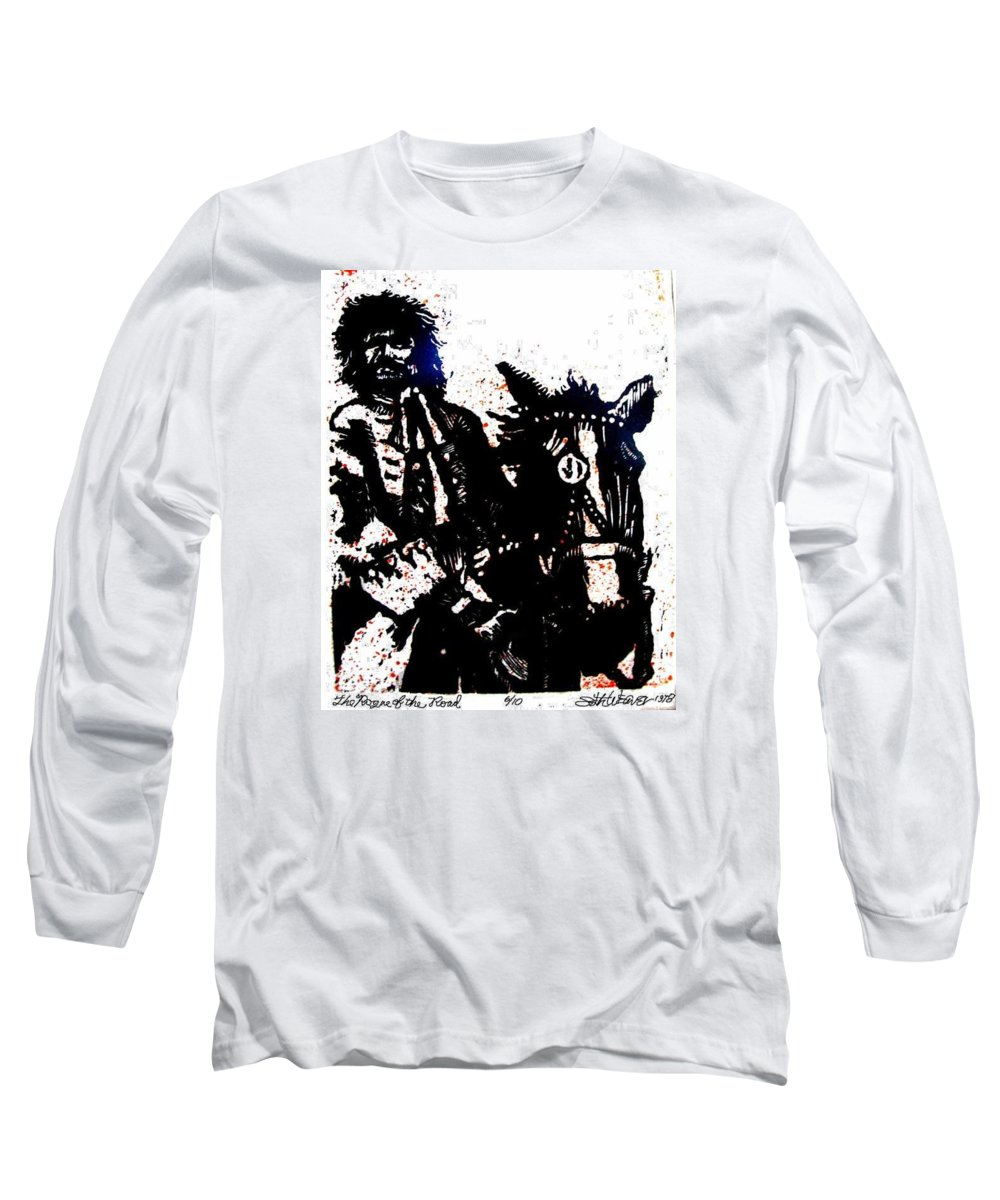English Highwayman Long Sleeve T-Shirt featuring the mixed media Rogue Of The Road by Seth Weaver