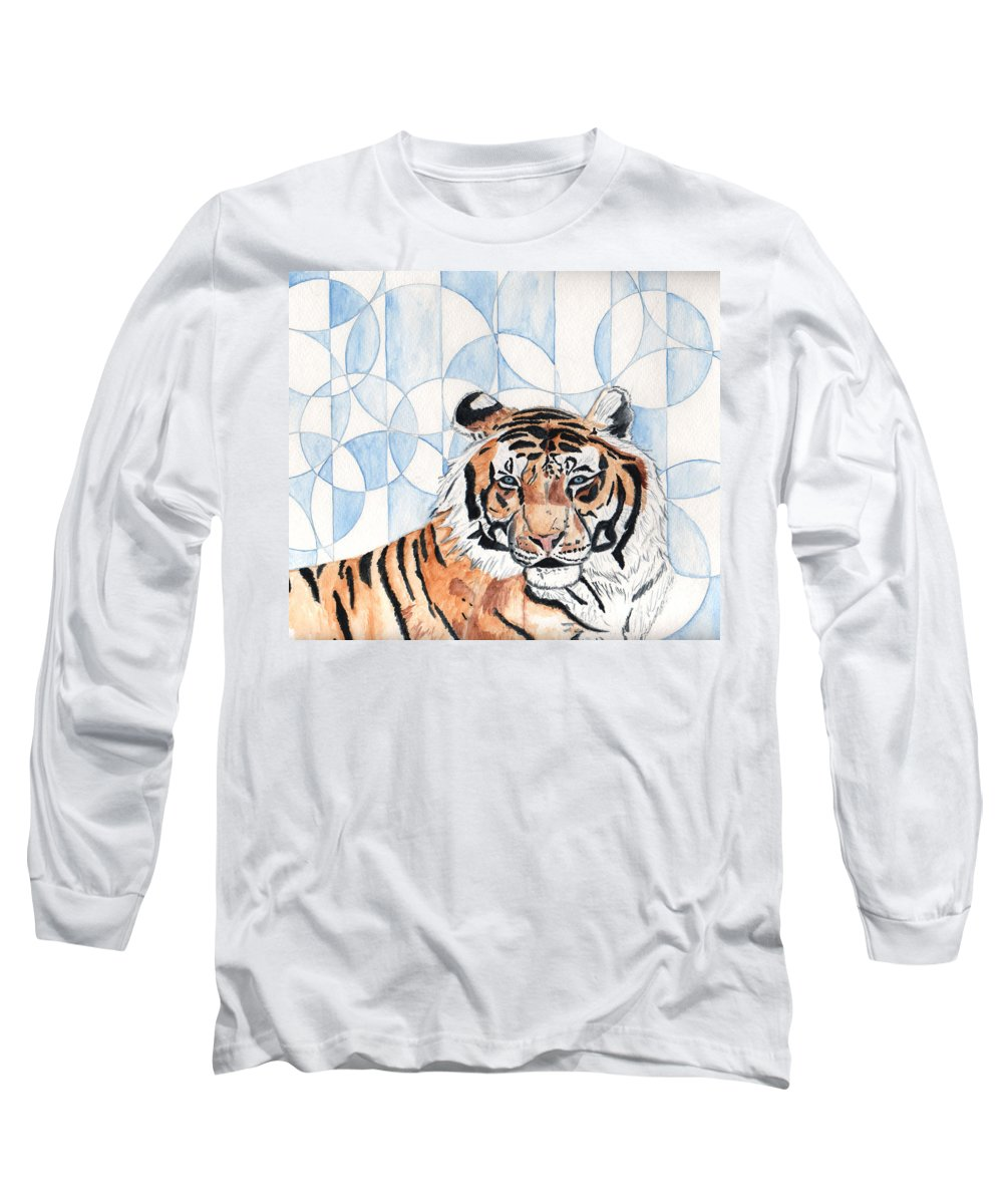 Tiger Long Sleeve T-Shirt featuring the painting Royal Mysticism by Crystal Hubbard