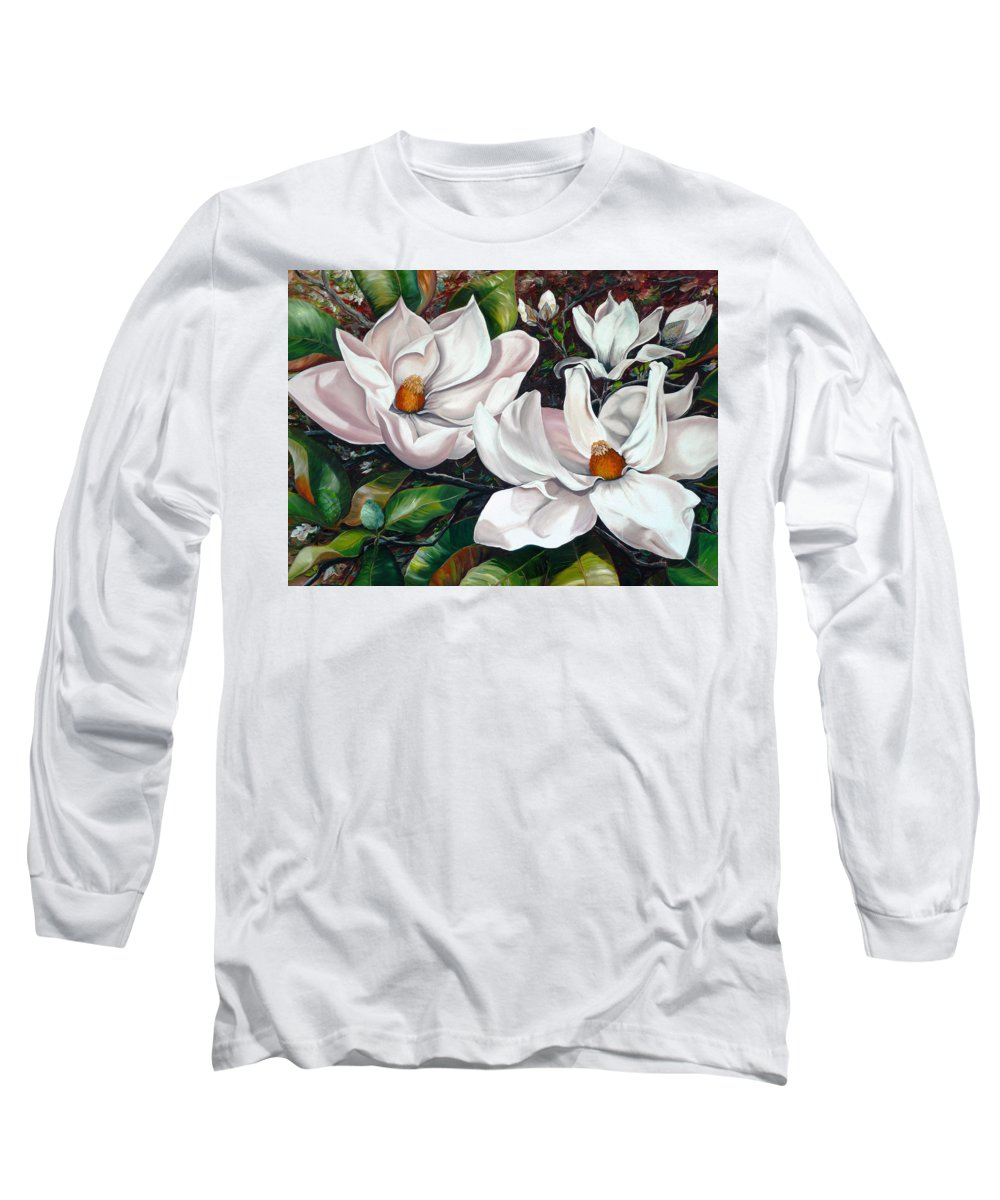 Magnolia Painting Flower Painting Botanical Painting Floral Painting Botanical Bloom Magnolia Flower White Flower Greeting Card Painting Long Sleeve T-Shirt featuring the painting Scent Of The South. by Karin Dawn Kelshall- Best