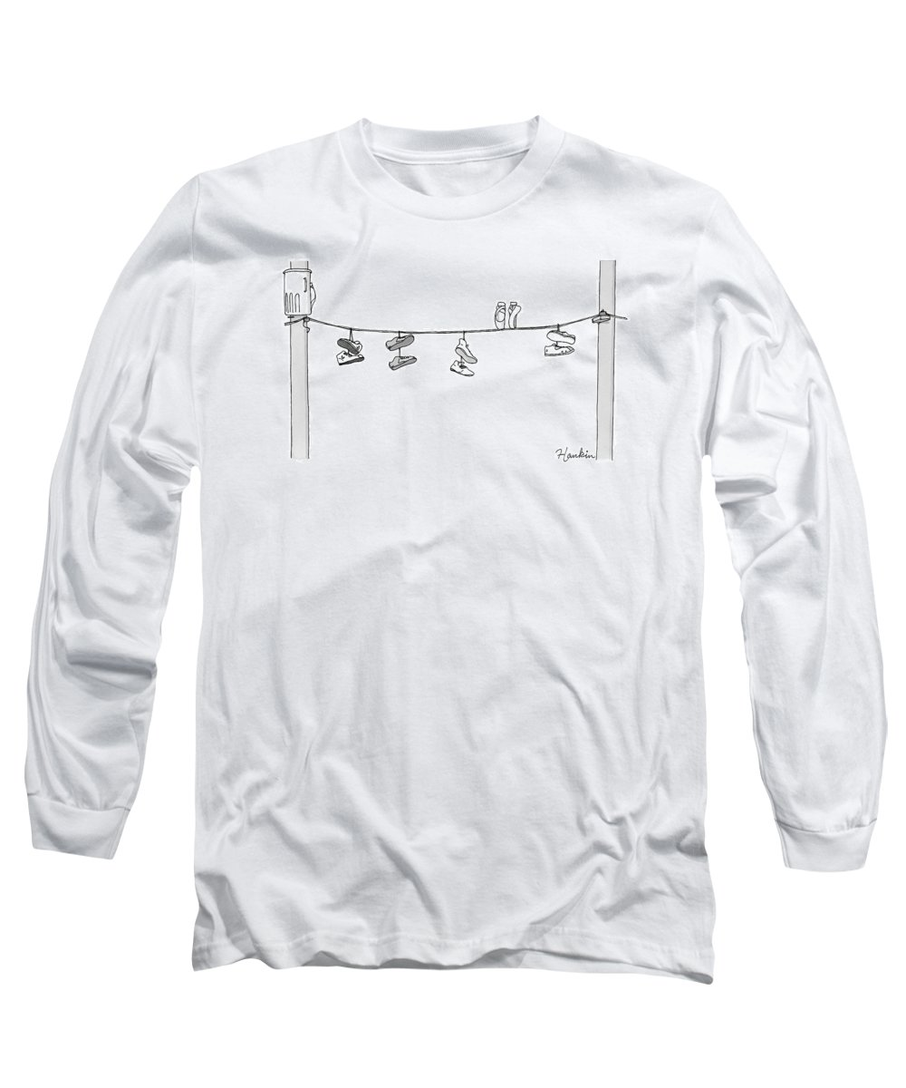 Captionless Long Sleeve T-Shirt featuring the drawing Several Pairs Of Shoes Dangle Over An Electrical by Charlie Hankin