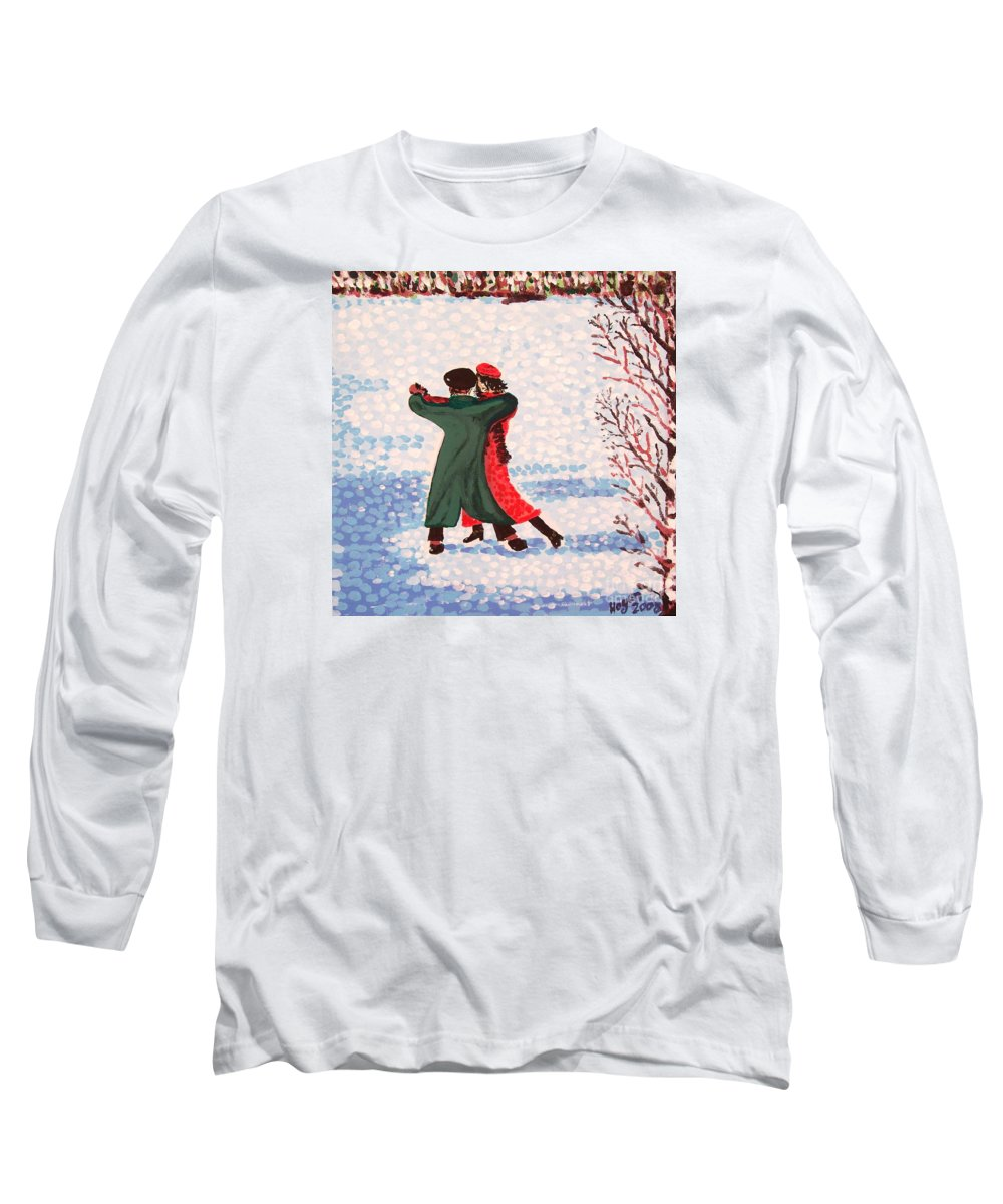 Snow Long Sleeve T-Shirt featuring the painting Snow Tango by Alan Hogan