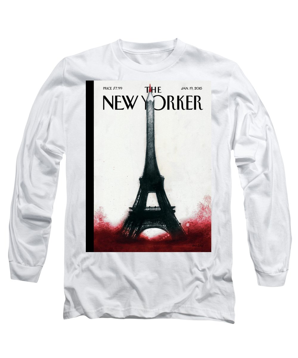 Charlie Hebdo Long Sleeve T-Shirt featuring the painting Solidarite by Ana Juan
