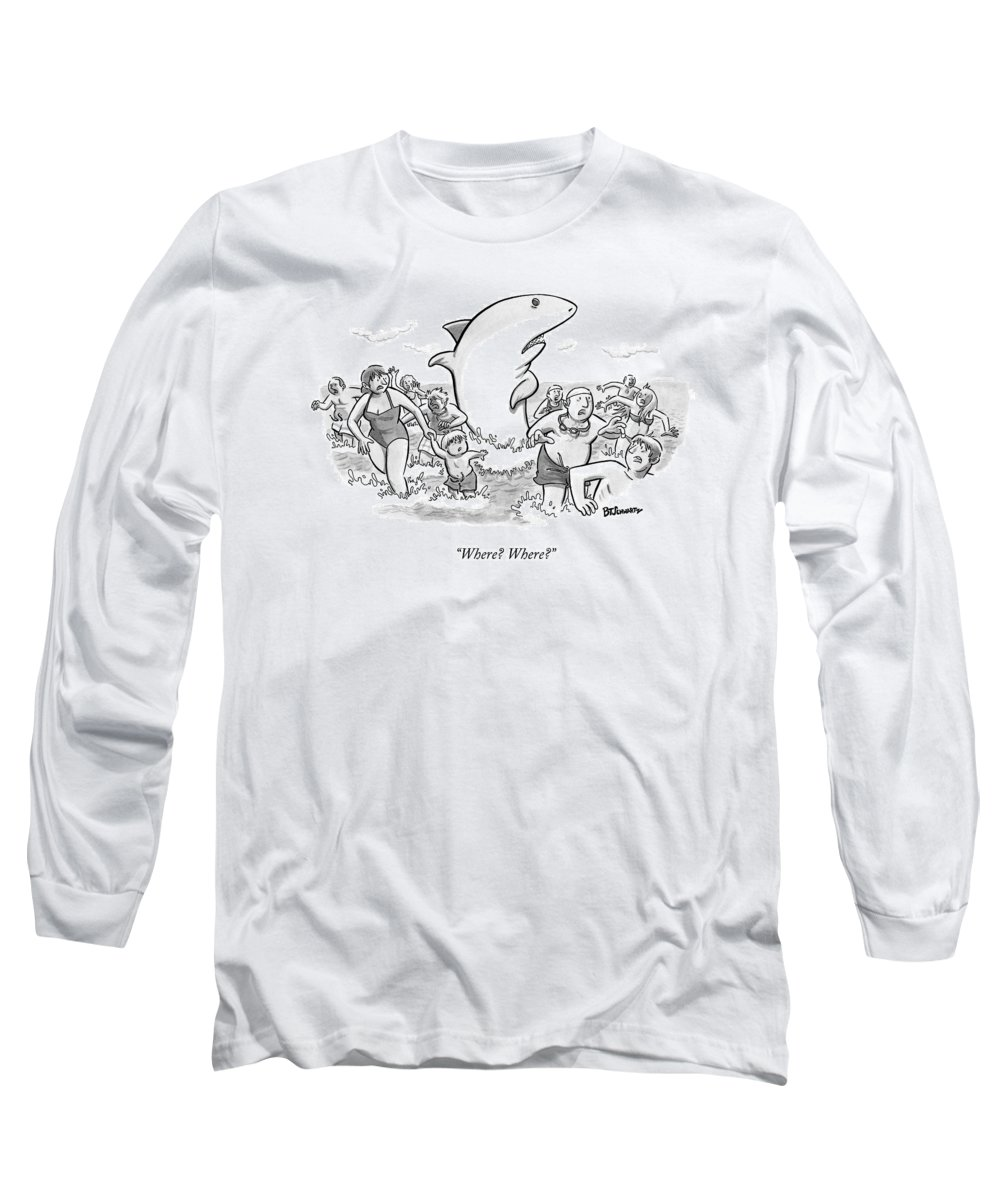 Shark Long Sleeve T-Shirt featuring the drawing Someone Has Just Yelled Shark! At The Beach by Benjamin Schwartz
