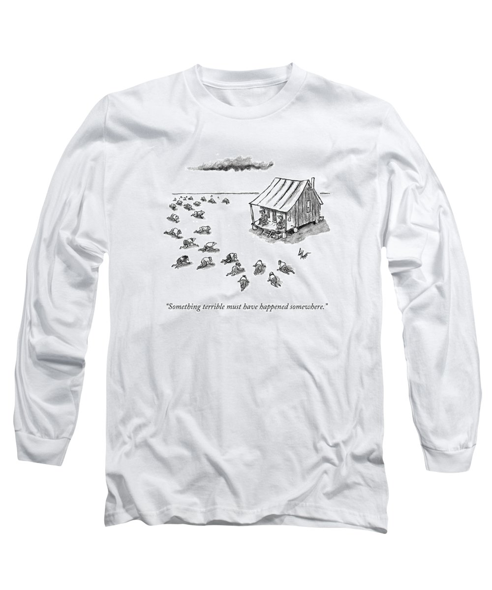 Desert Long Sleeve T-Shirt featuring the drawing Something Terrible Must Have Happened Somewhere by Frank Cotham