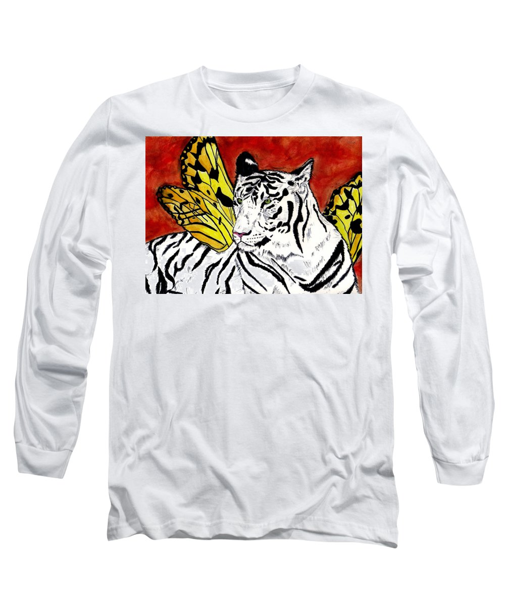 Tiger Long Sleeve T-Shirt featuring the painting Soul Rhapsody by Crystal Hubbard