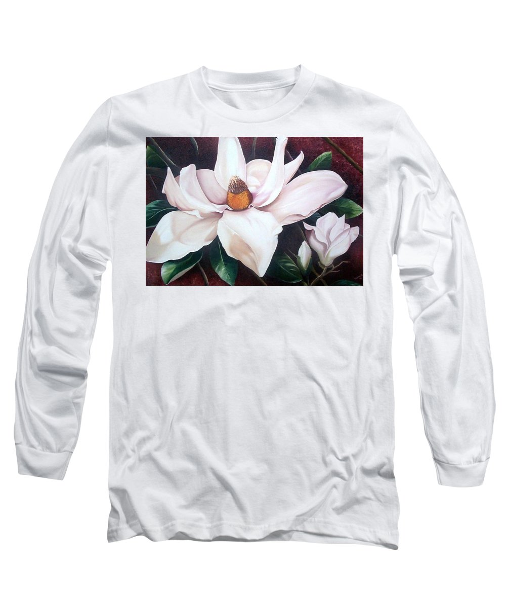 Magnolia Southern Bloom Floral Botanical White Long Sleeve T-Shirt featuring the painting Southern Beauty by Karin Dawn Kelshall- Best