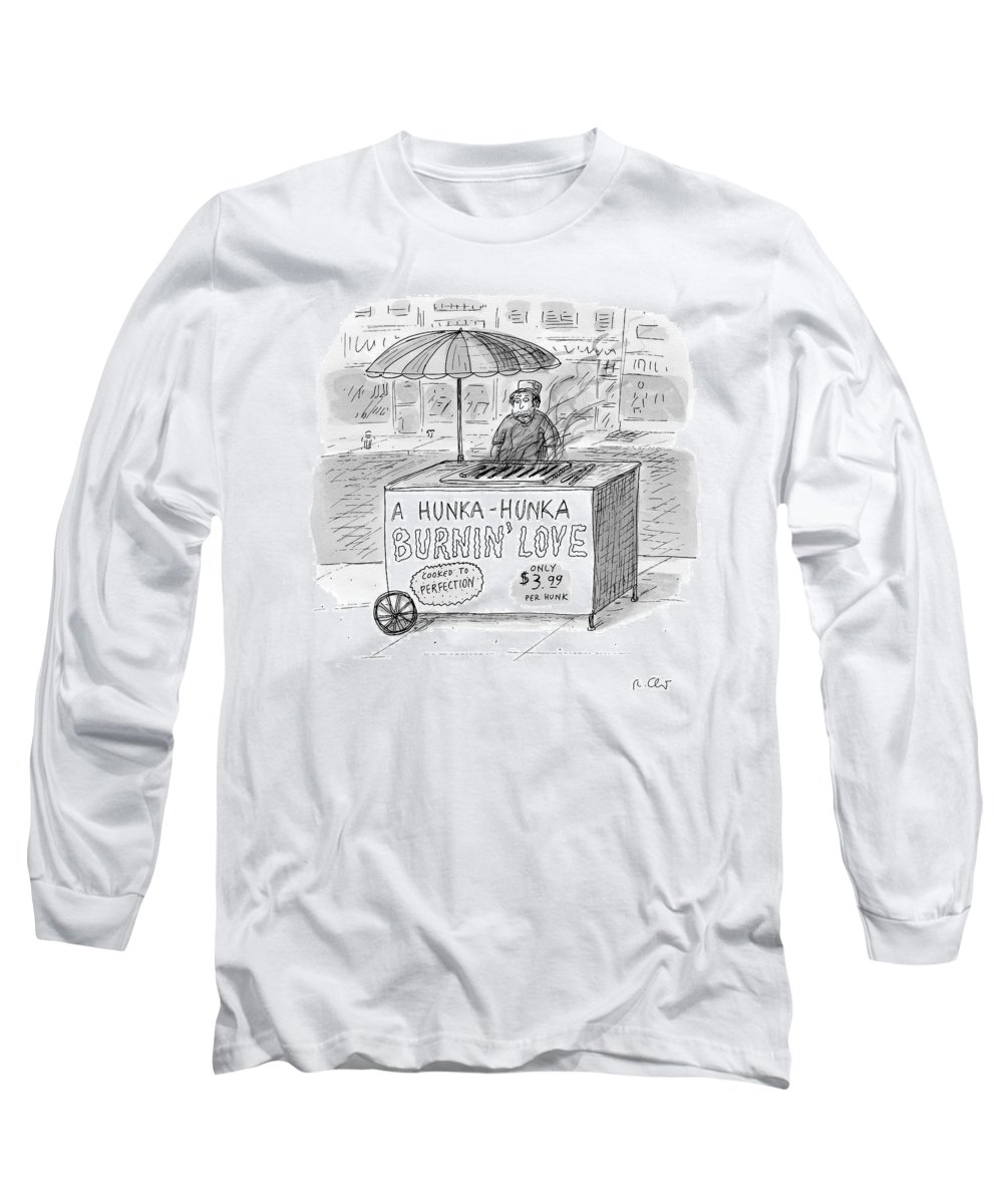 Love Long Sleeve T-Shirt featuring the drawing Street Vendor Stands Behind His Cart by Roz Chast