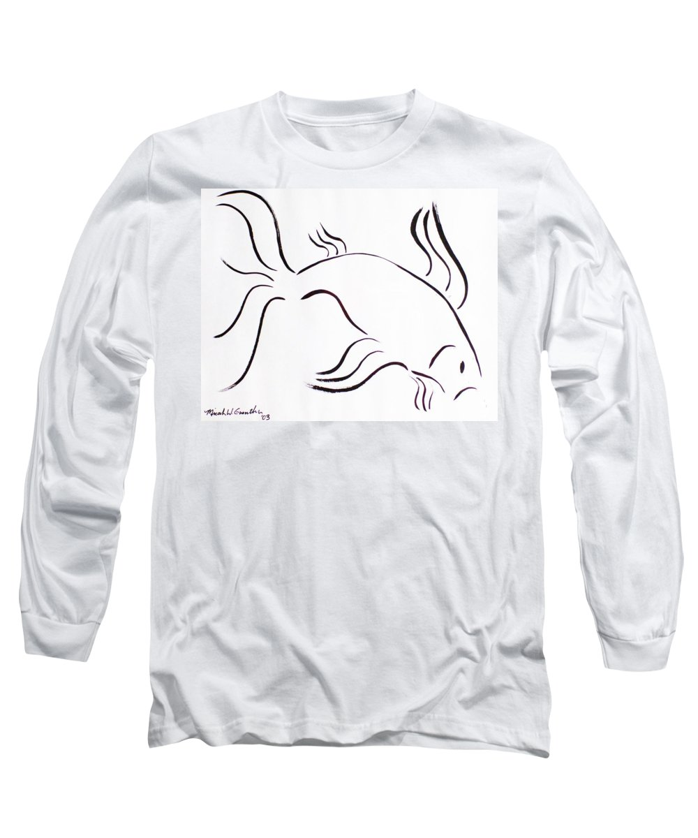 Abstract Long Sleeve T-Shirt featuring the drawing Strength by Micah Guenther