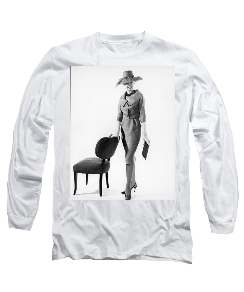 1955 Long Sleeve T-Shirt featuring the photograph Stylish Woman by Underwood Archives
