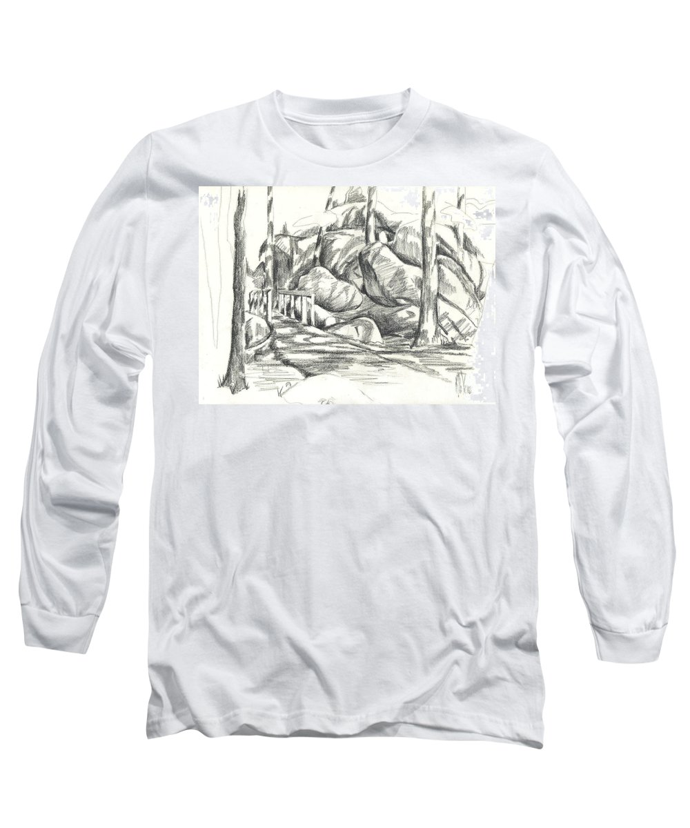 Swirling Cast Shadows At Elephant Rocks No Ctc101 Long Sleeve T-Shirt featuring the drawing Swirling Cast Shadows At Elephant Rocks No Ctc101 by Kip DeVore