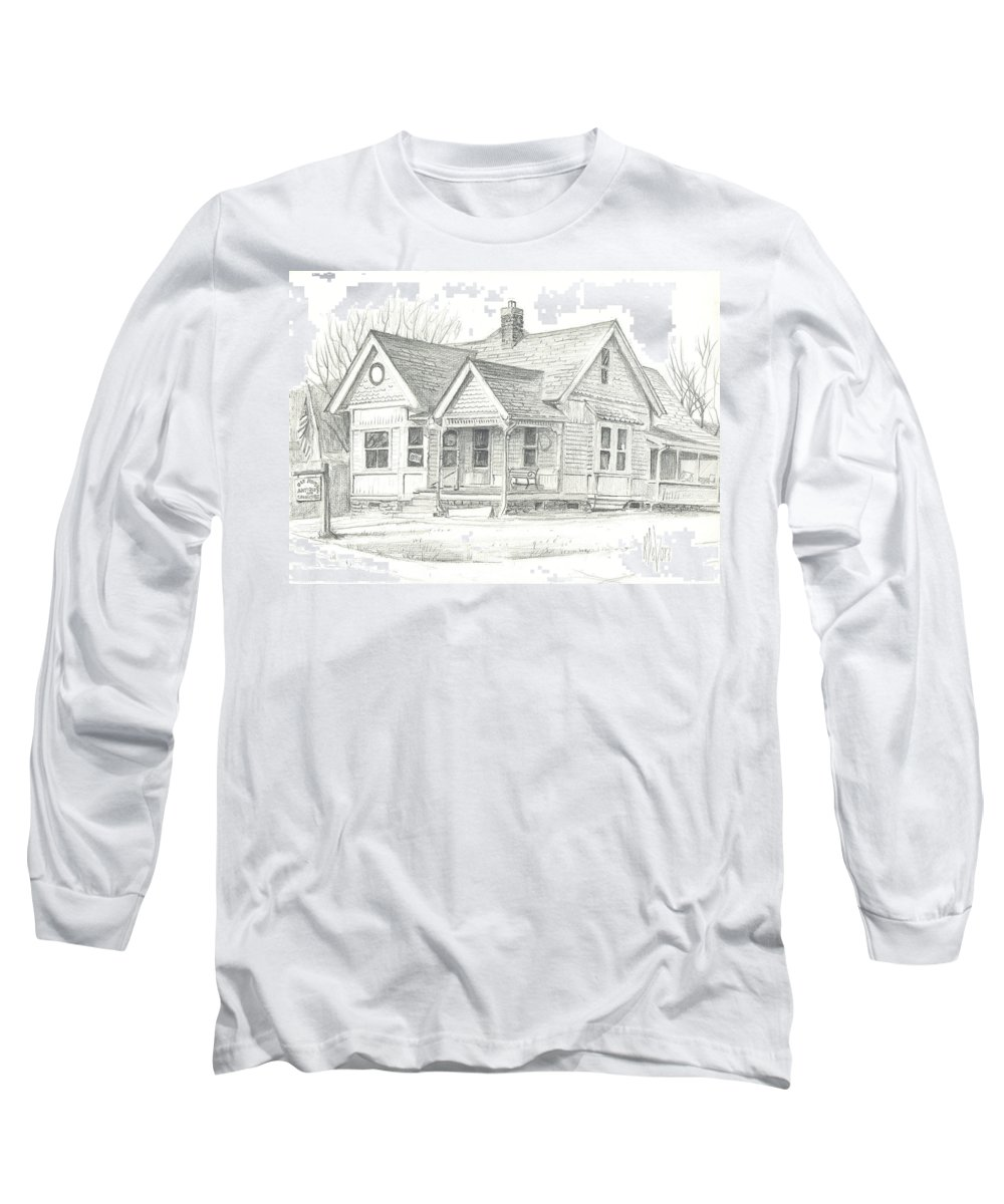 The Antique Shop Long Sleeve T-Shirt featuring the drawing The Antique Shop by Kip DeVore