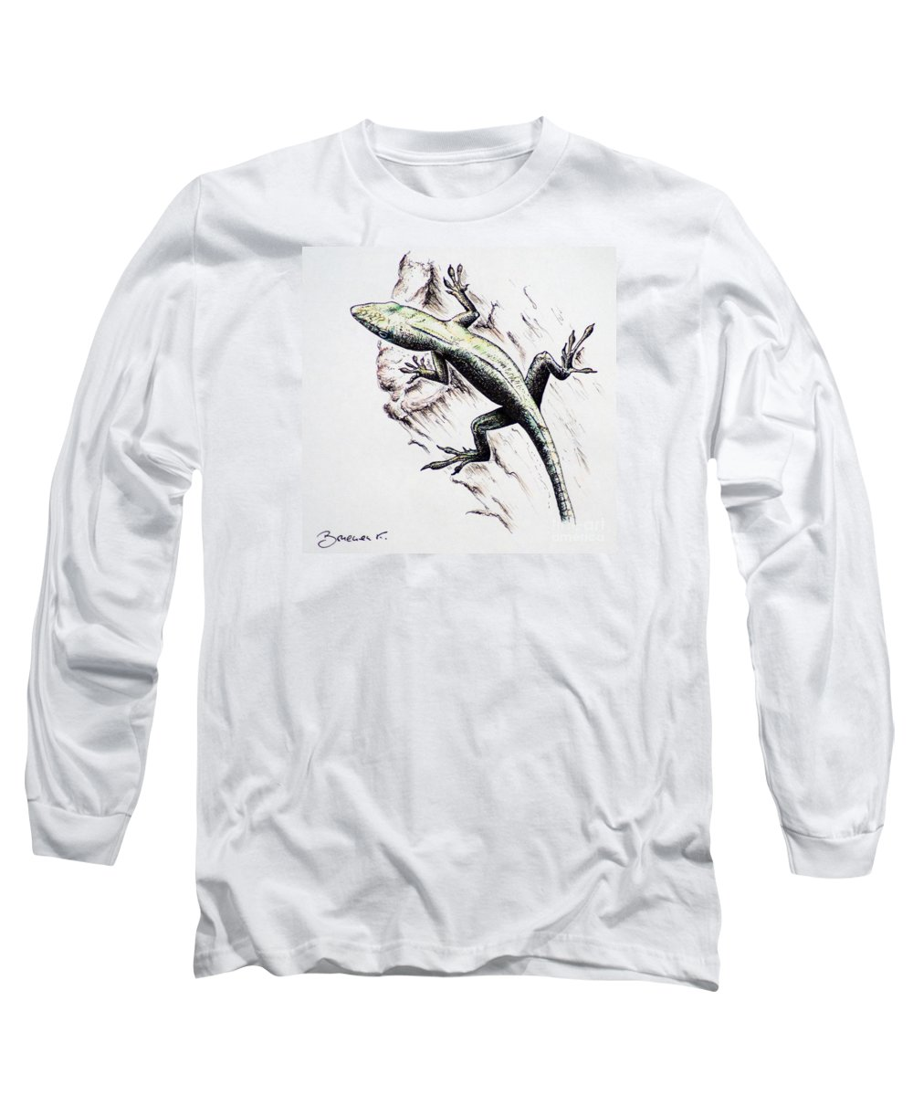 Ink Sketch Long Sleeve T-Shirt featuring the drawing The Green Lizard by Katharina Filus