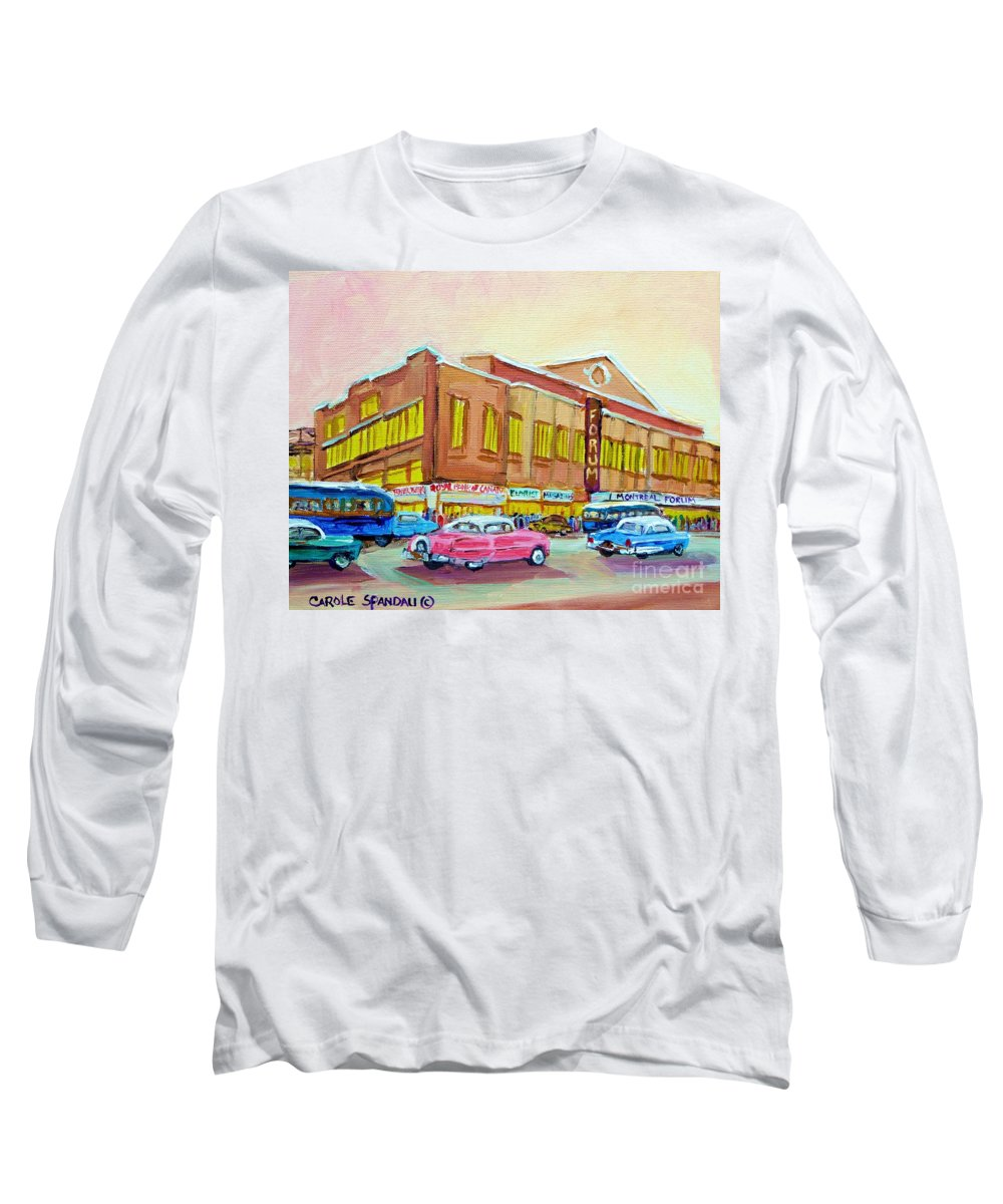 Montreal Long Sleeve T-Shirt featuring the painting The Montreal Forum by Carole Spandau