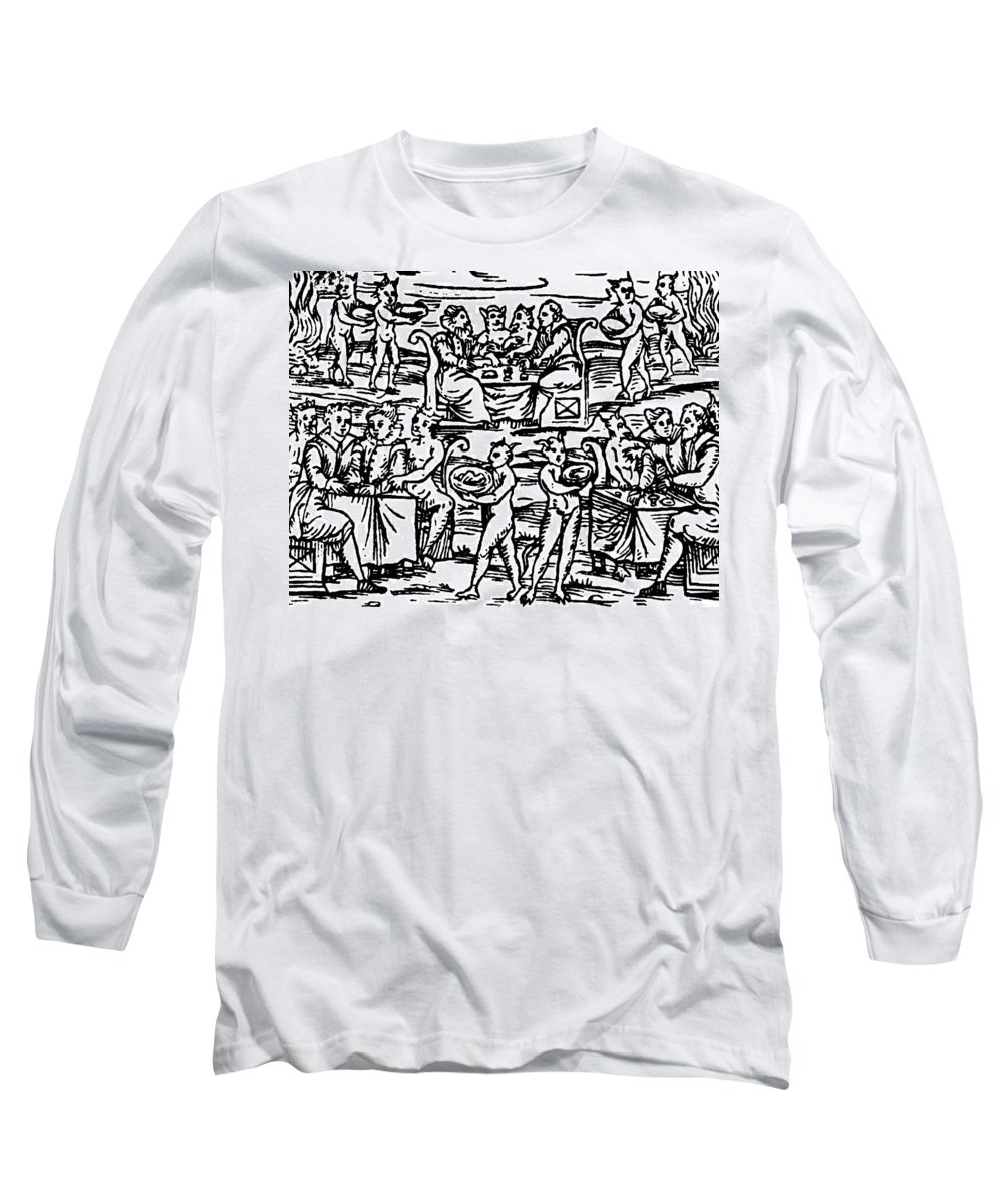 Occult Long Sleeve T-Shirt featuring the drawing The Sorcerers Feast by Italian School