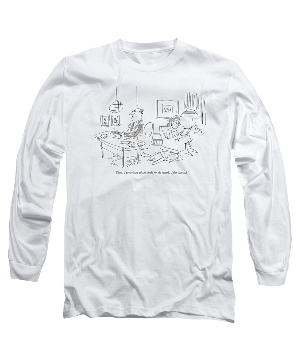 Psychobabble Long Sleeve T-Shirt featuring the drawing There. I've Written All The Checks by Dean Vietor