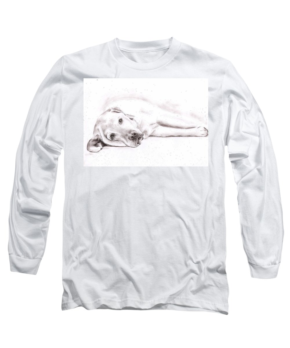 Dog Long Sleeve T-Shirt featuring the drawing Tired Labrador by Nicole Zeug