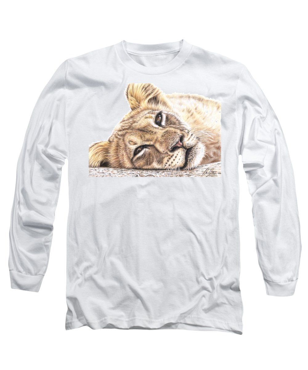 Lion Long Sleeve T-Shirt featuring the drawing Tired Young Lion by Nicole Zeug