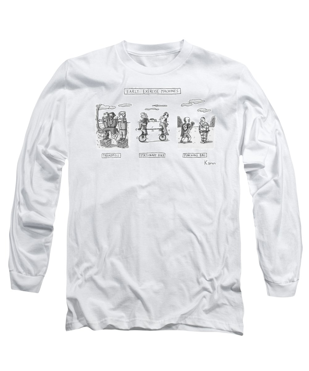 Stationary Bikepunching Bag Long Sleeve T-Shirt featuring the drawing Title: Early Exercise Machines. Three Early by Zachary Kanin