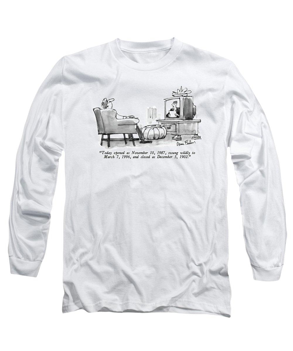 today Opened As November 10 Long Sleeve T-Shirt featuring the drawing Today Opened As November 10 by Dana Fradon