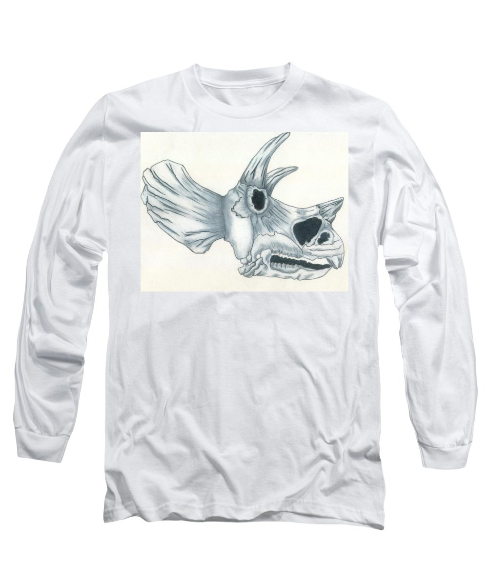 Dinosaur Long Sleeve T-Shirt featuring the drawing Tricerotops Skull by Micah Guenther