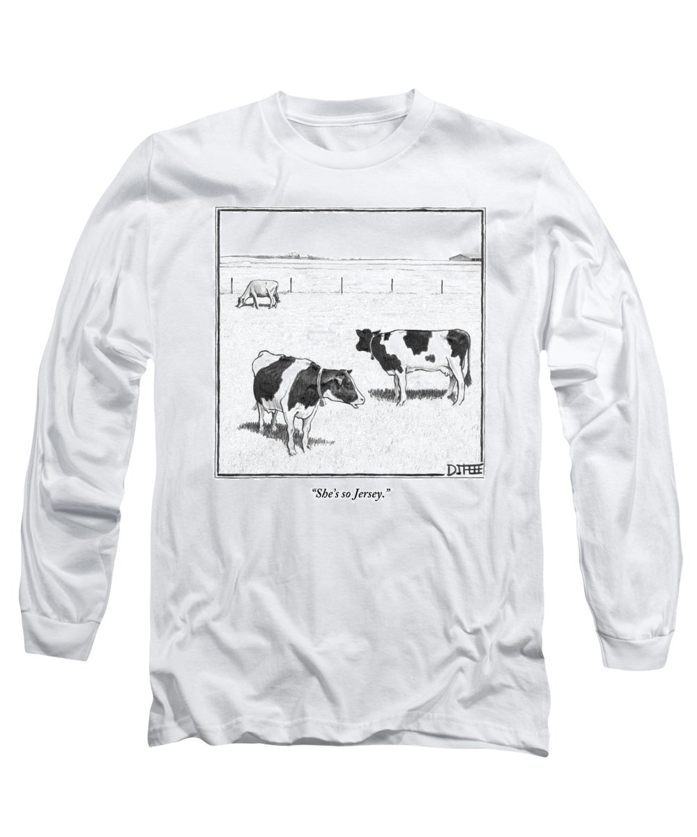 Cows Long Sleeve T-Shirt featuring the drawing Two Spotted Cows Looking At A Jersey Cow by Matthew Diffee