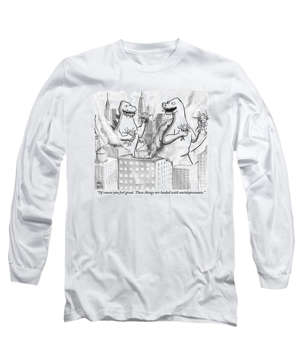 Godzilla Long Sleeve T-Shirt featuring the drawing Two Godzillas Talk To Each Other by Paul Noth