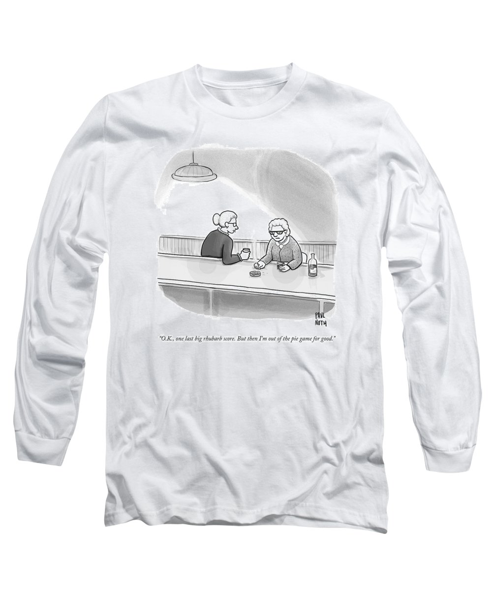 Heist Long Sleeve T-Shirt featuring the drawing Two Grannies Smoke And Drink At A Bar by Paul Noth
