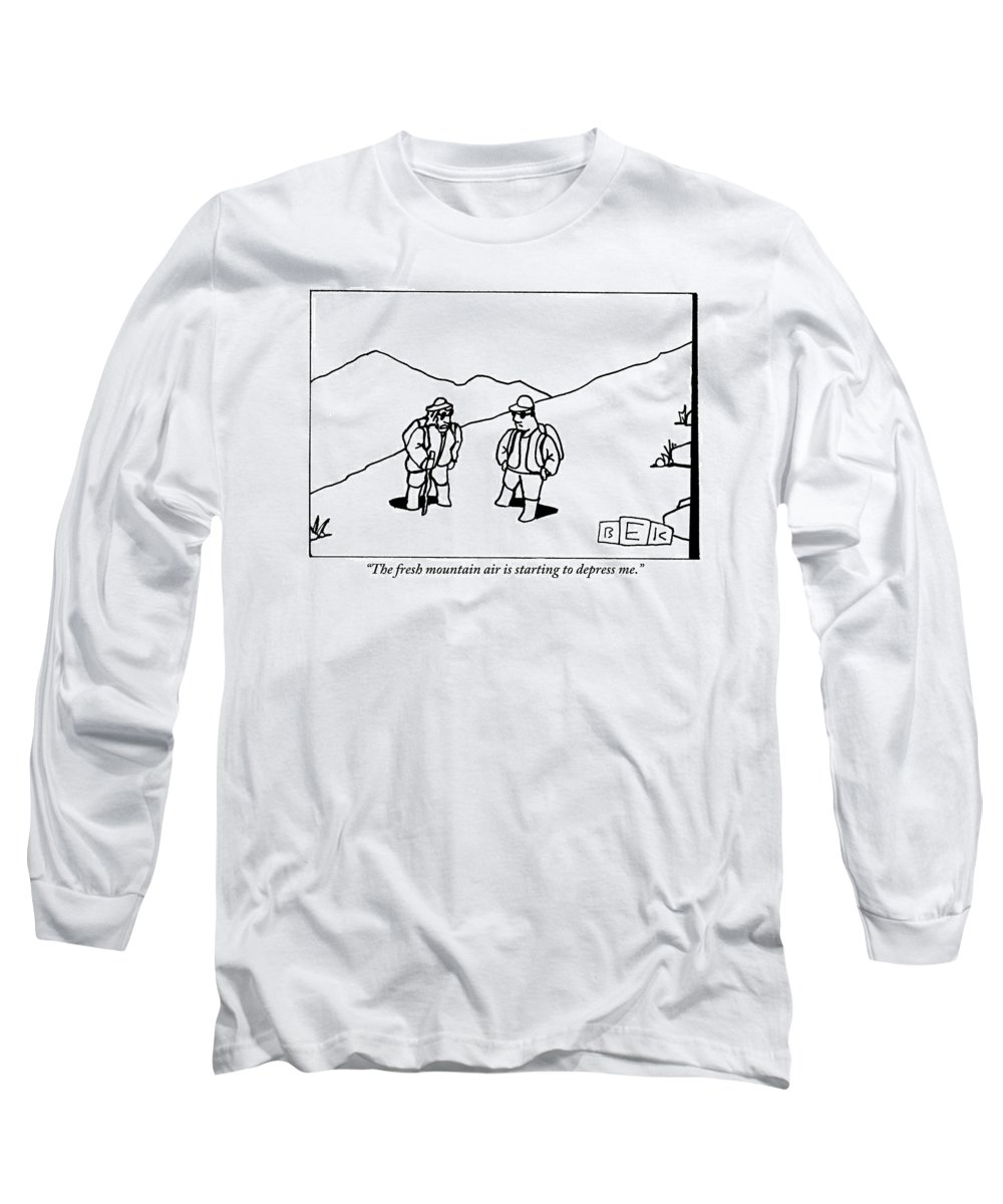 Fresh Air Long Sleeve T-Shirt featuring the drawing Two Hikers Are Talking To Each Other Outdoors by Bruce Eric Kaplan