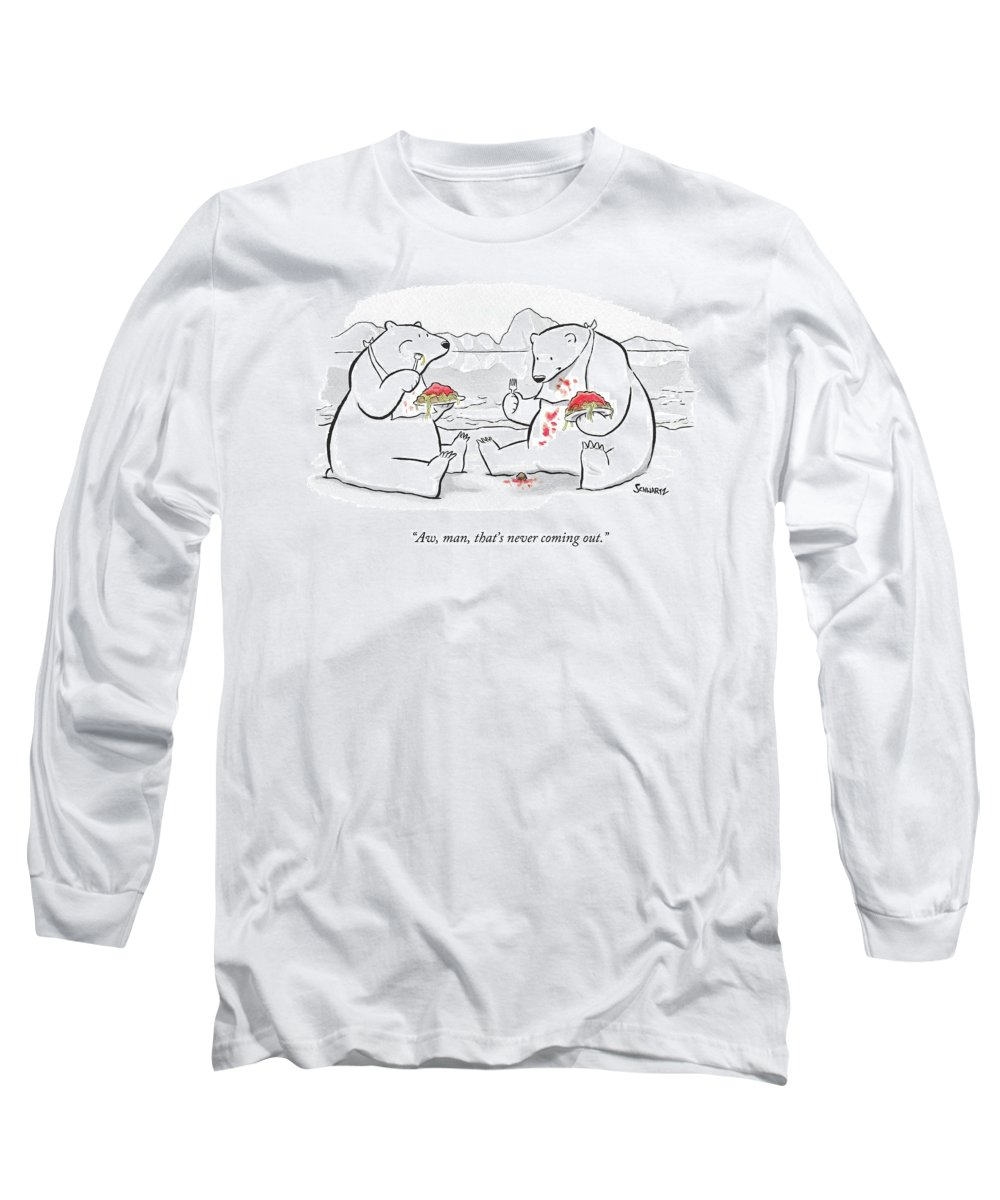 Polar Bears Long Sleeve T-Shirt featuring the drawing Two Polar Bears Eat Spaghetti And Meatballs. One by Benjamin Schwartz