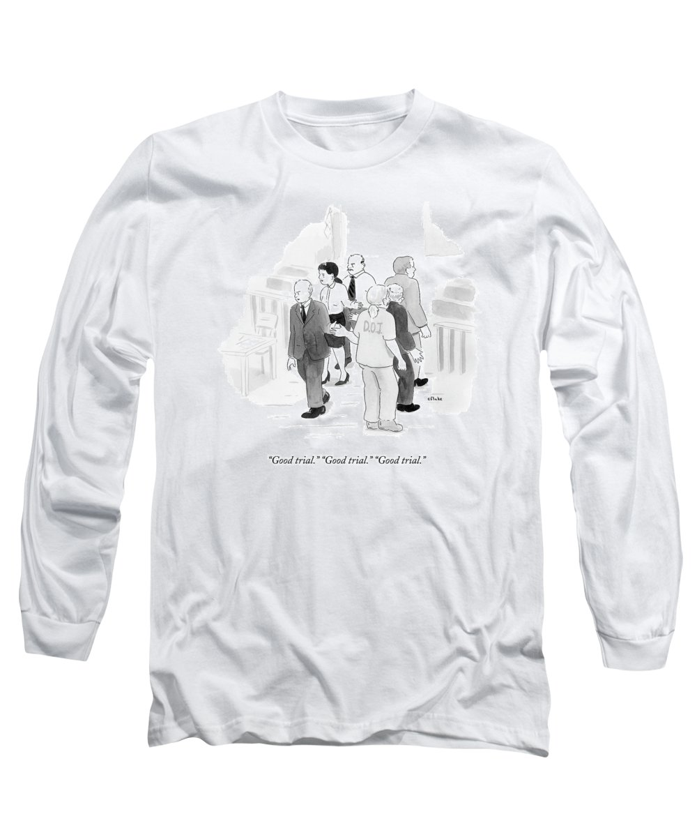 Courtroom Long Sleeve T-Shirt featuring the drawing Two Rows Of Three People High Five Each Other by Emily Flake