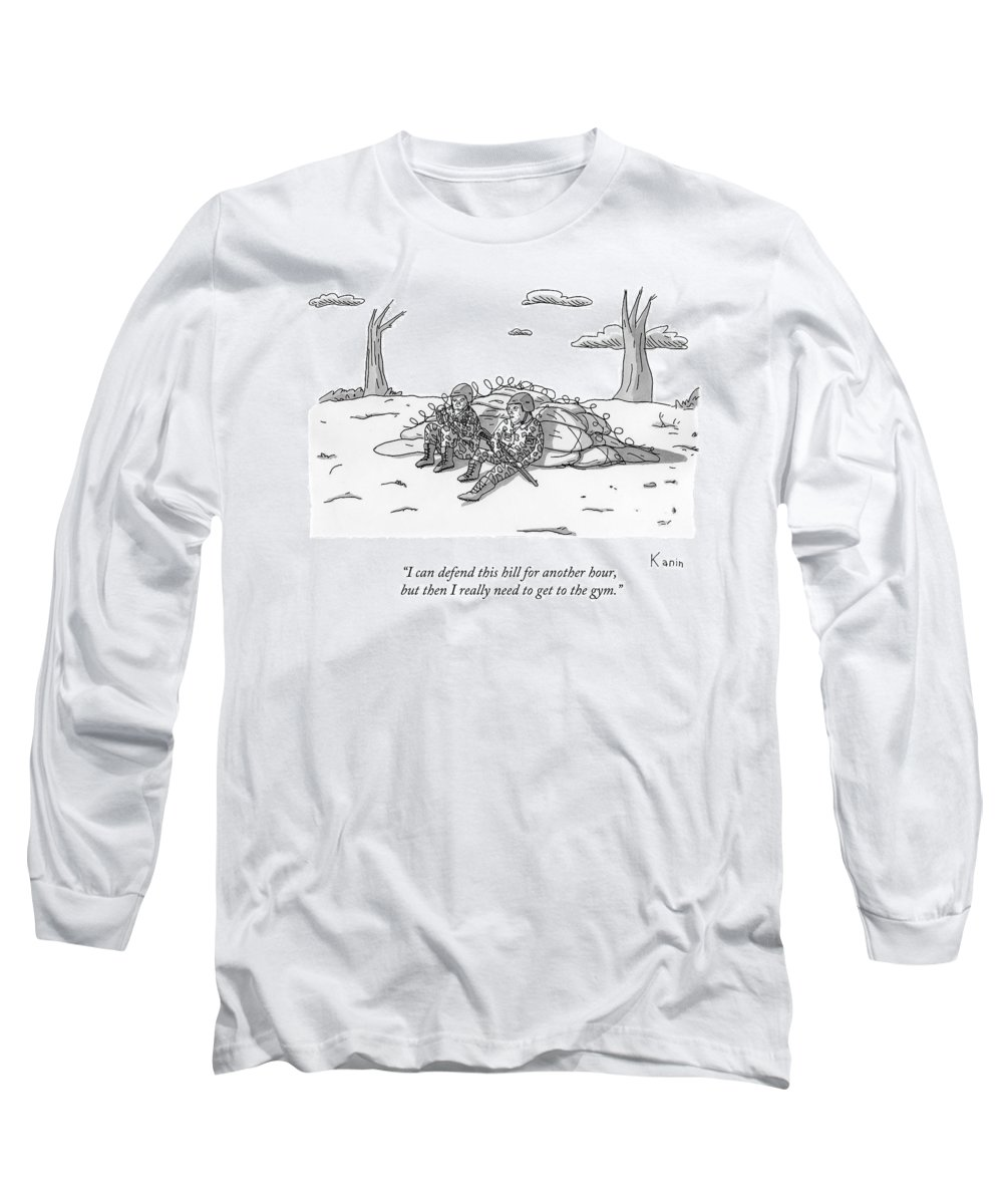 Soldiers Long Sleeve T-Shirt featuring the drawing Two Soldiers Talk While Hidden Behind A Bunker by Zachary Kanin