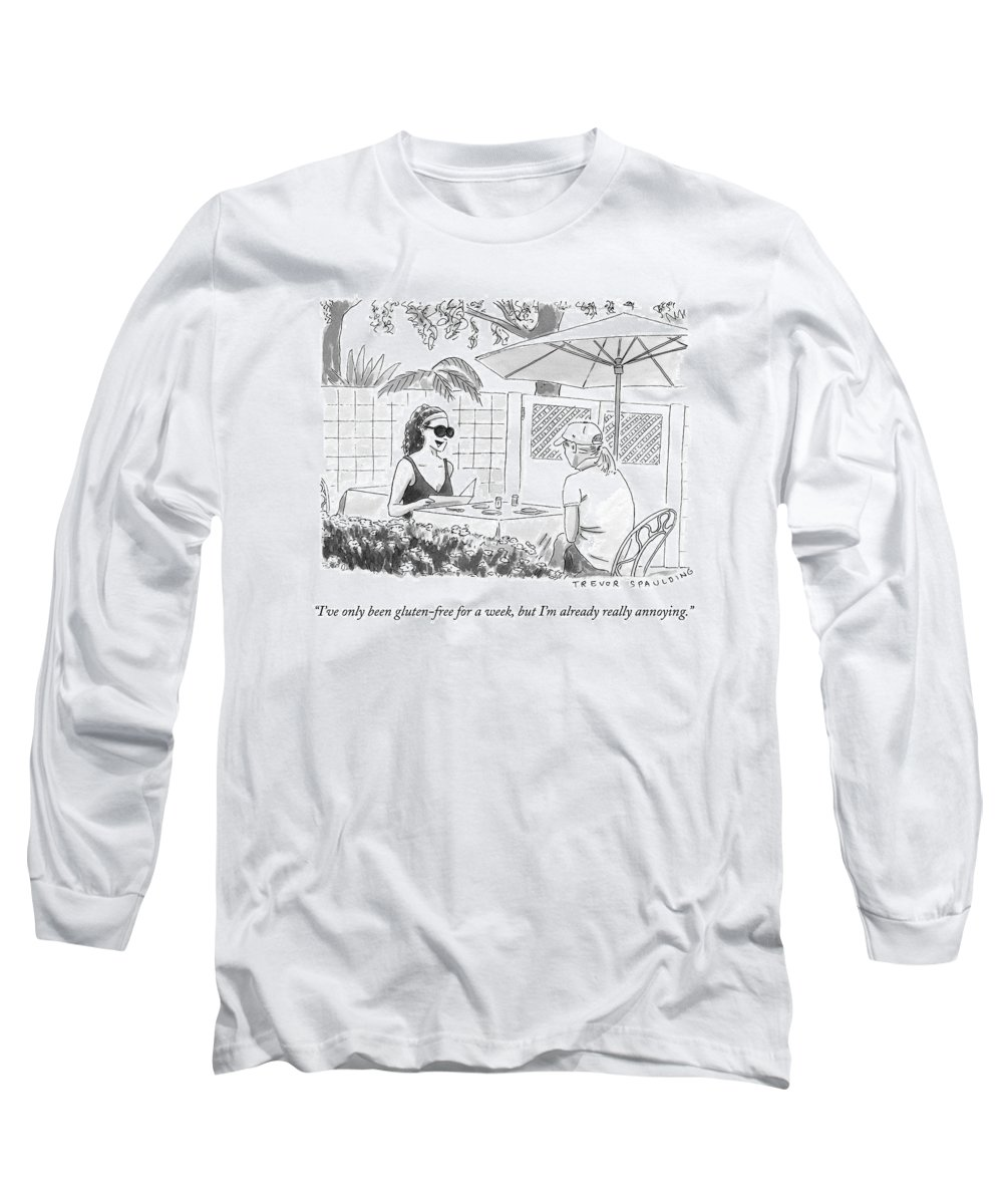 Gluten Free Long Sleeve T-Shirt featuring the drawing Two Women Speak At A Cafe Speak by Trevor Spaulding