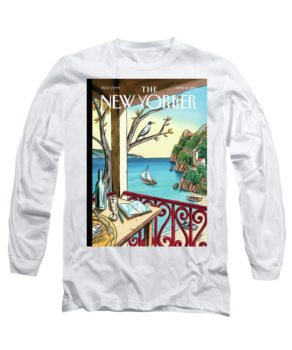 Balcony Long Sleeve T-Shirt featuring the painting Drawing While Waiting by Jacques de Loustal