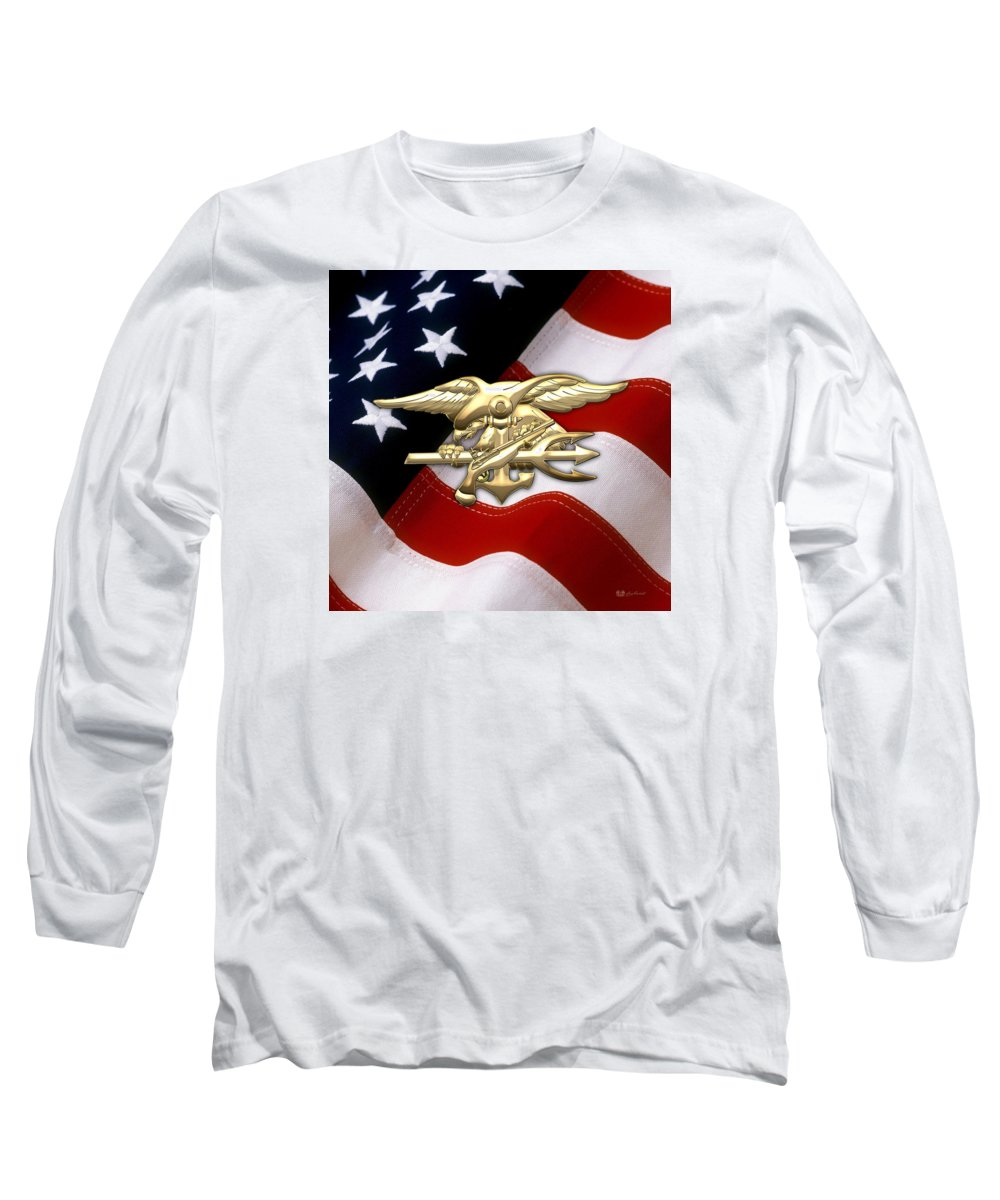 'military Insignia & Heraldry 3d' Collection By Serge Averbukh Long Sleeve T-Shirt featuring the digital art U. S. Navy S E A Ls Emblem Over American Flag by Serge Averbukh