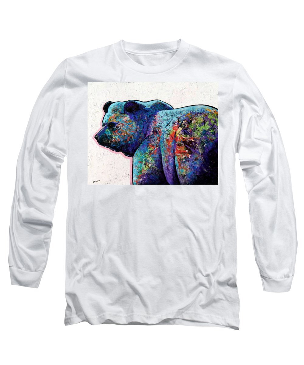 Wildlife Long Sleeve T-Shirt featuring the painting Watchful Eyes - Grizzly Bear by Joe Triano