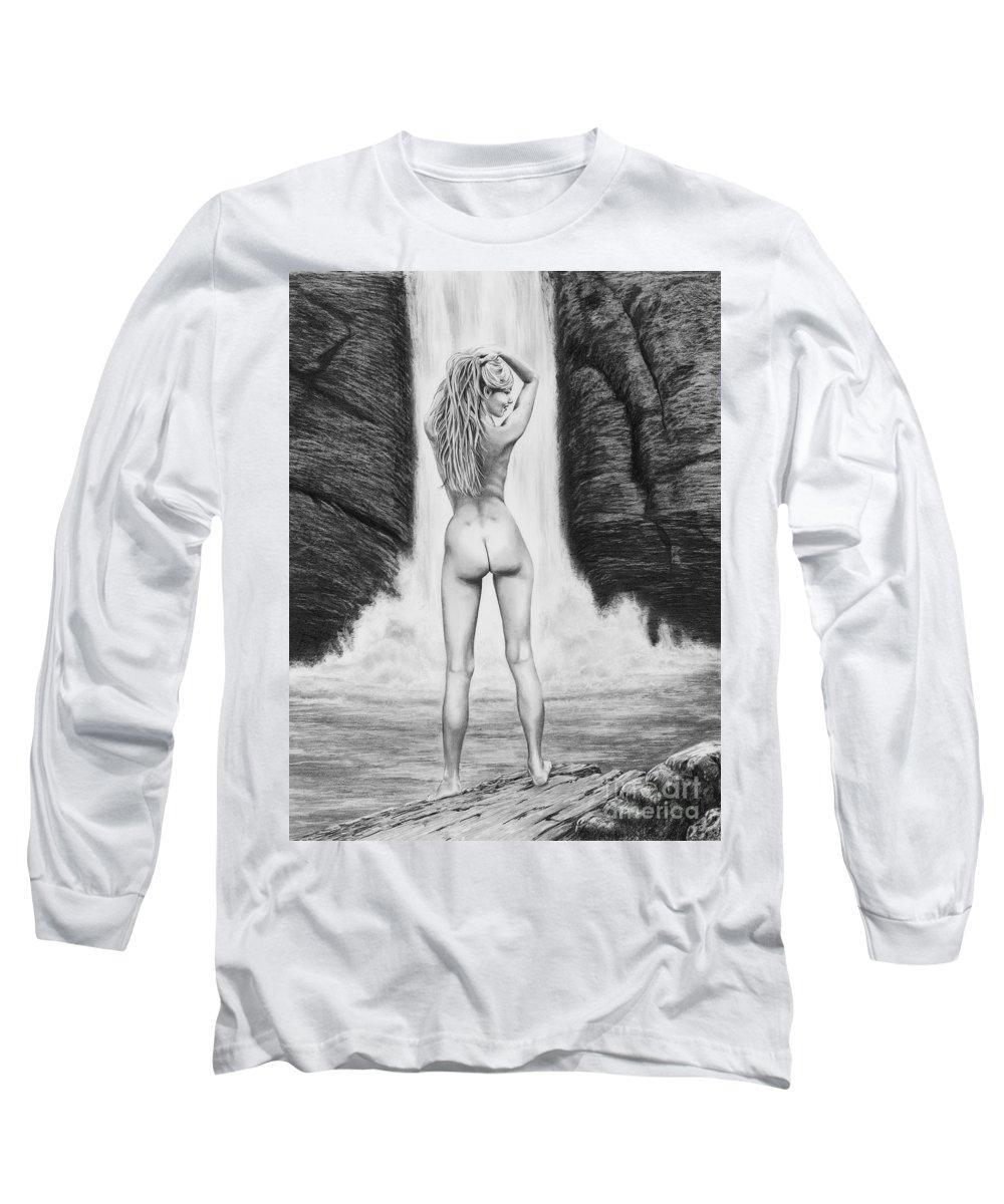 Waterfall Long Sleeve T-Shirt featuring the drawing Waterfall Pin Up Girl by Murphy Elliott