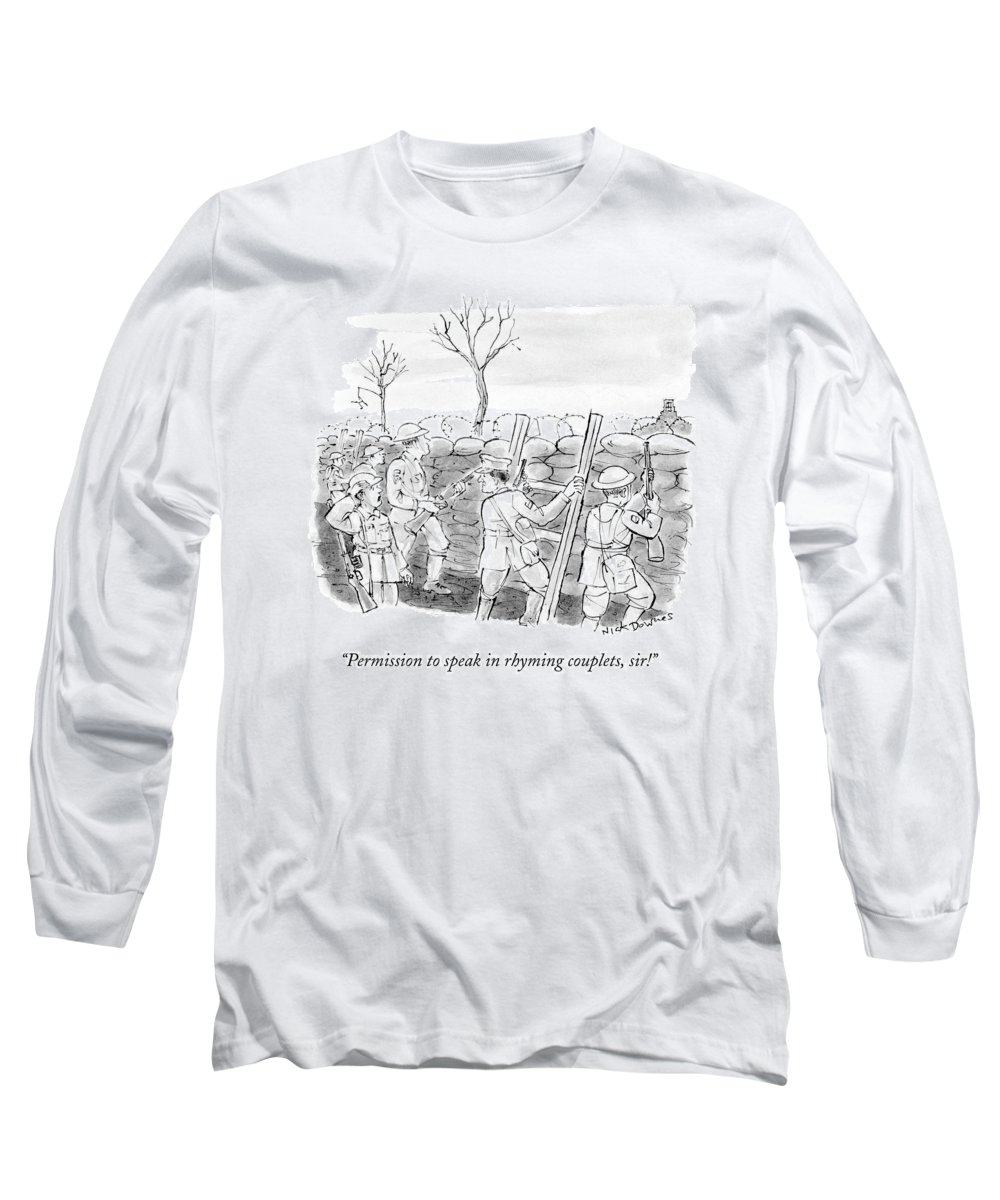 War Long Sleeve T-Shirt featuring the drawing World War I Soldiers Fire From Behind Trenches by Nick Downes