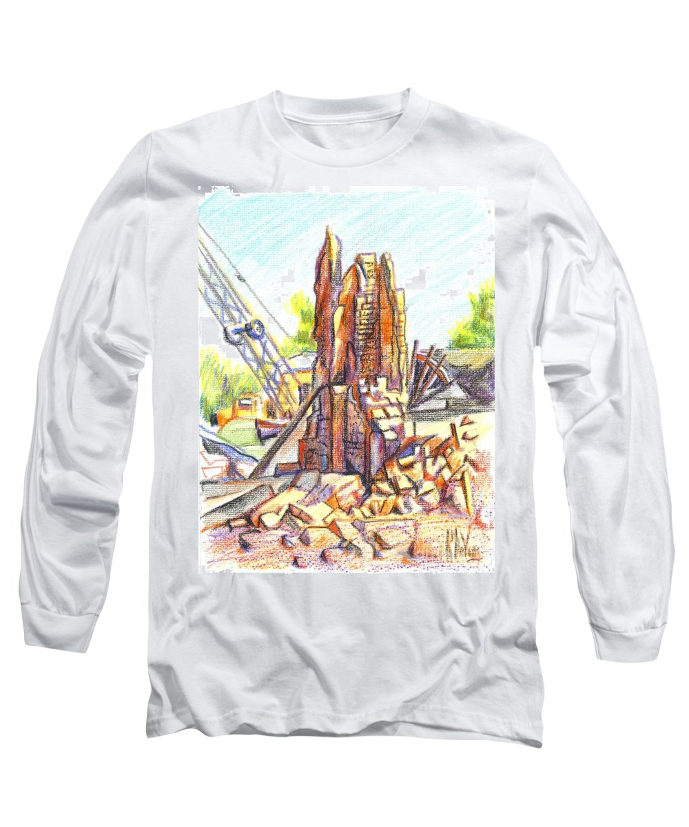 Wrecking Ball Long Sleeve T-Shirt featuring the painting Wrecking Ball by Kip DeVore