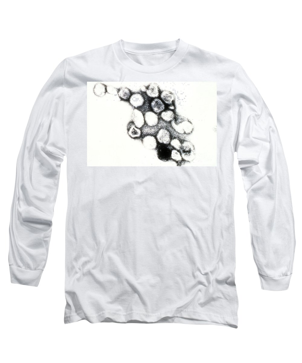 Micrograph Long Sleeve T-Shirt featuring the photograph Tem Of Rubella German Measles by Science Source