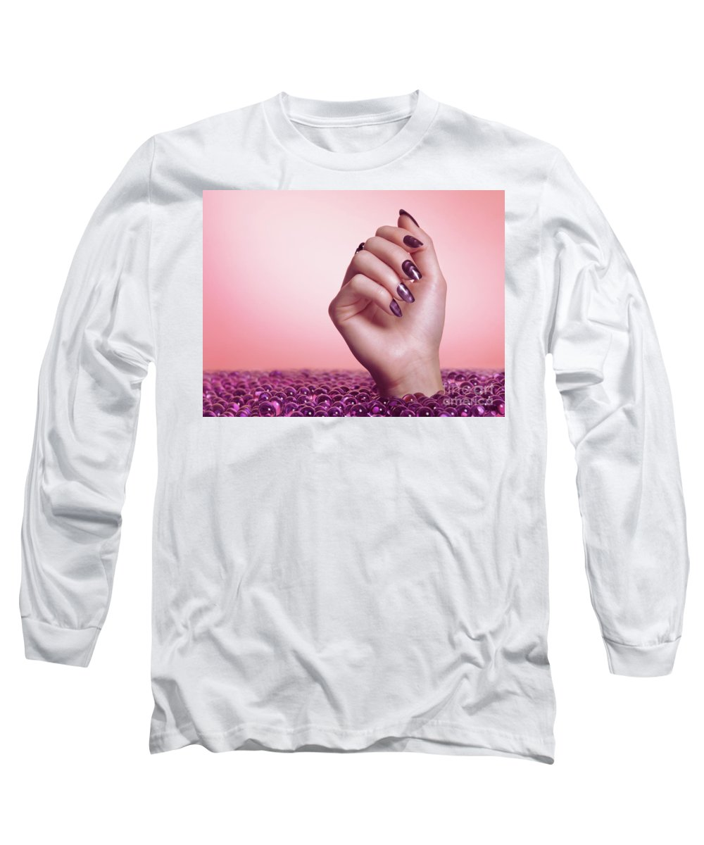 Manicure Long Sleeve T-Shirt featuring the photograph Woman Hand With Purple Nail Polish by Maxim Images Prints