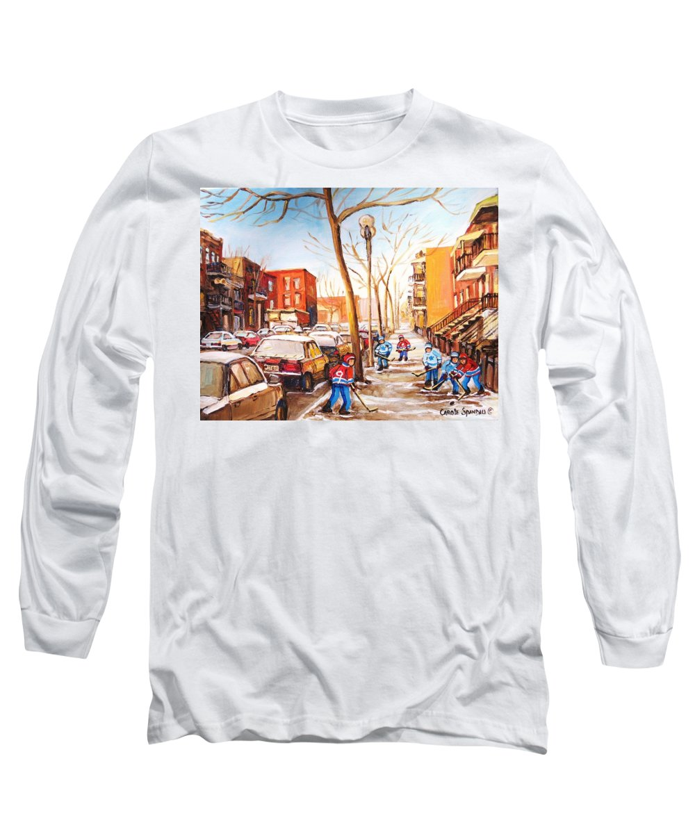 Montreal Street Scene With Boys Playing Hockey Long Sleeve T-Shirt featuring the painting Montreal Street With Six Boys Playing Hockey by Carole Spandau