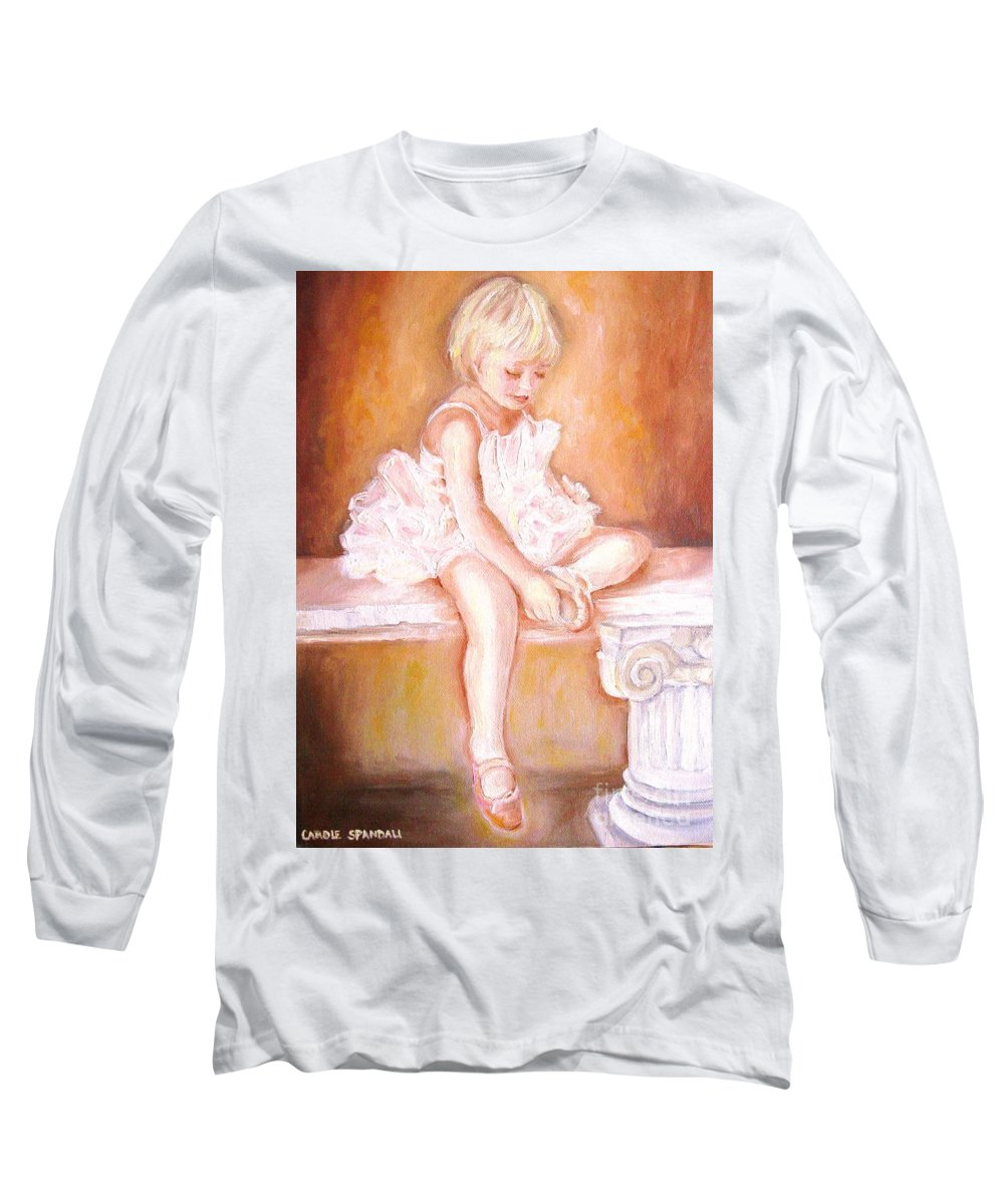 Ballerinas Long Sleeve T-Shirt featuring the painting The Little Ballerina by Carole Spandau